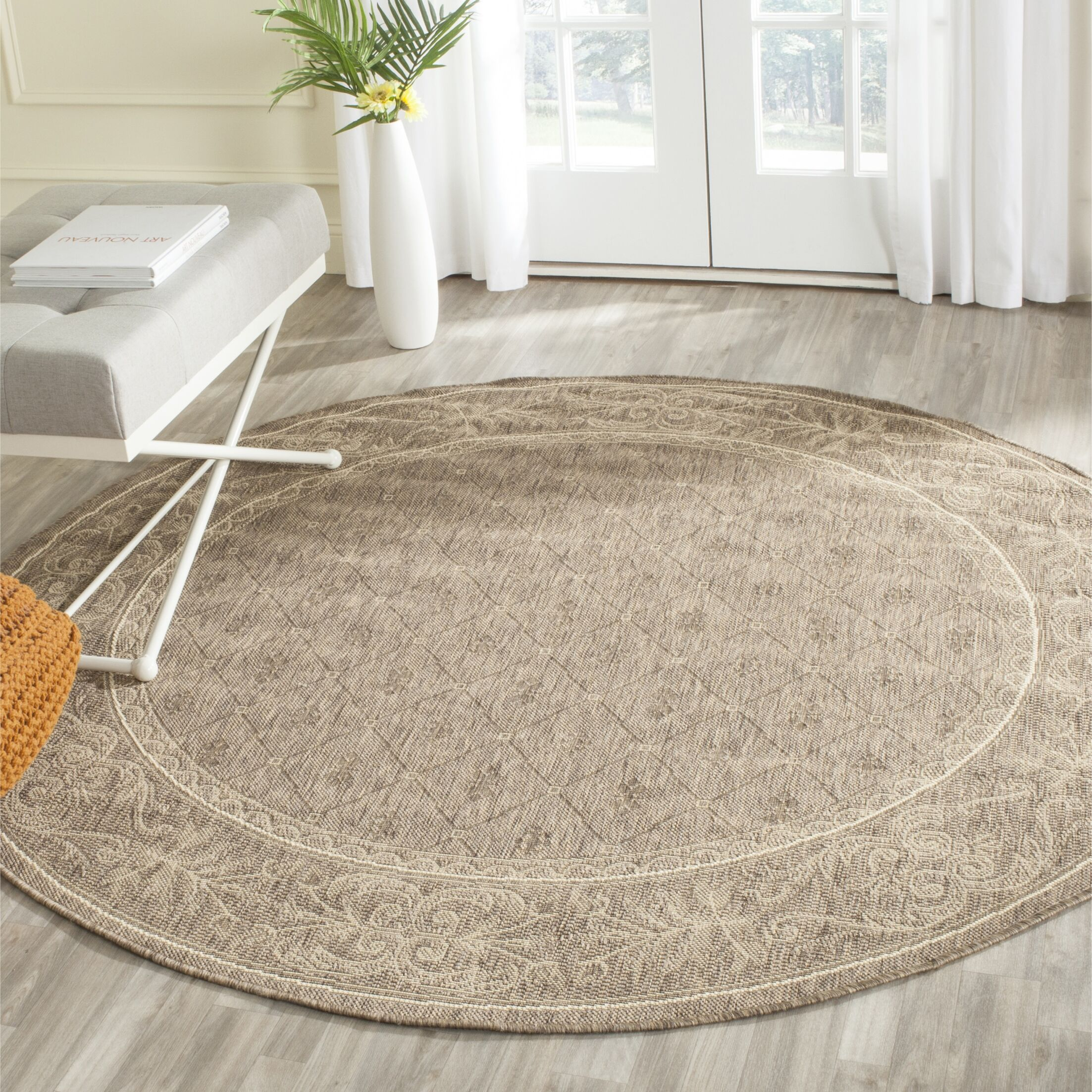 Short Brown Outdoor Area Rug Rug Size: Round 6'7