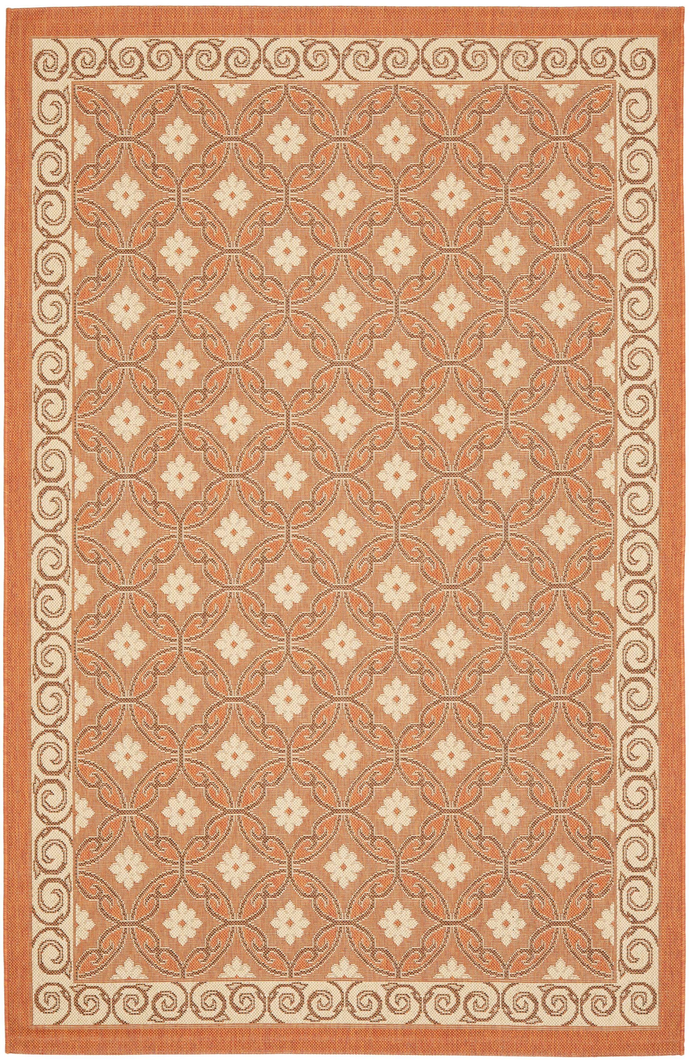 Short Terracotta / Cream Indoor/Outdoor Rug Rug Size: Rectangle 6'7
