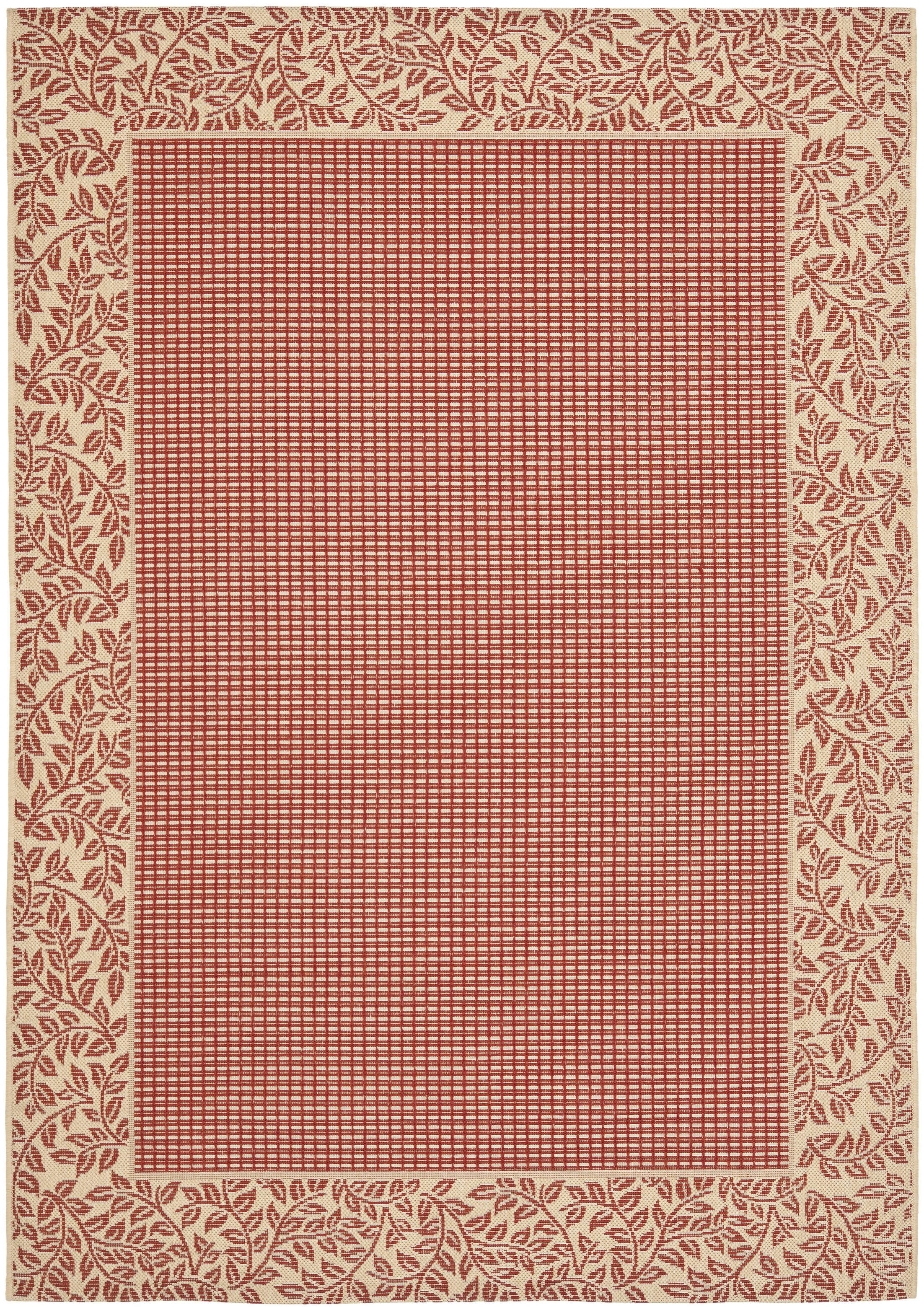 Short Woven Red / Natural Indoor/Outdoor Rug Rug Size: Rectangle 6'7