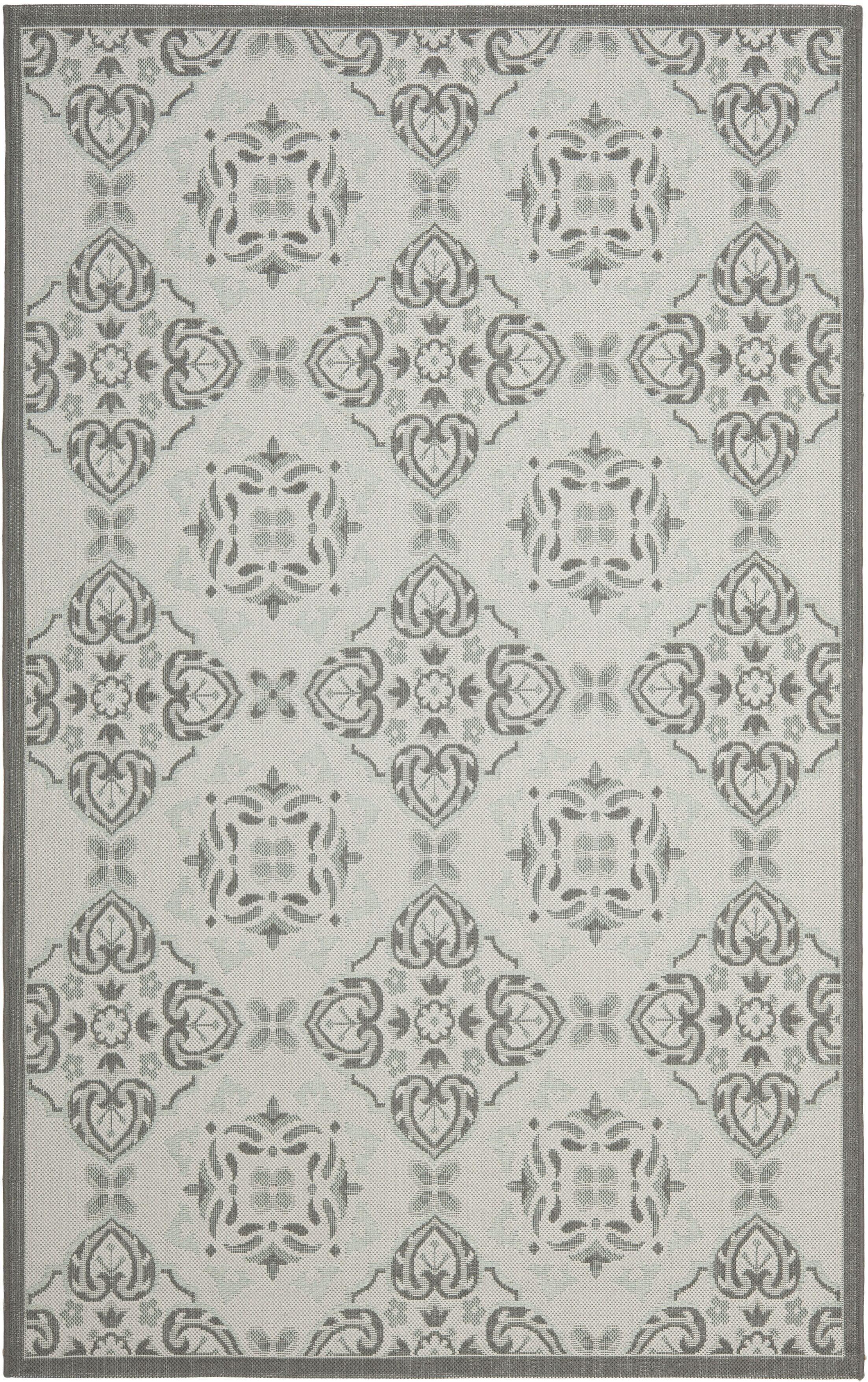 Short Light Grey/Anthracite Indoor/Outdoor Synthetic  Rug Rug Size: Rectangle 8' x 11'2