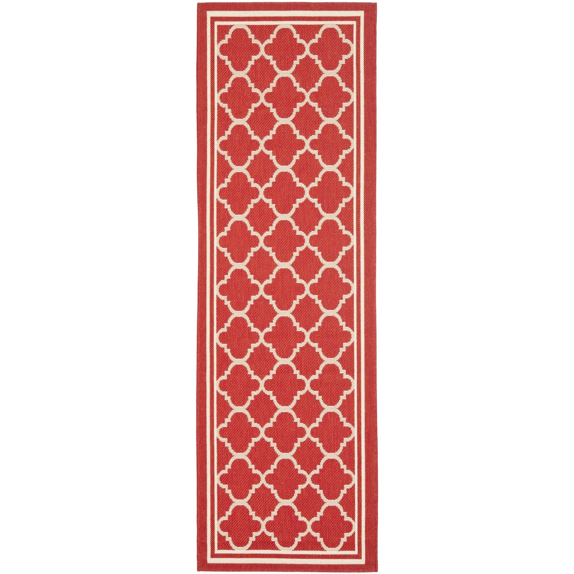 Short Red Indoor/Outdoor Power Loomed Area Rug Rug Size: Runner 2'4