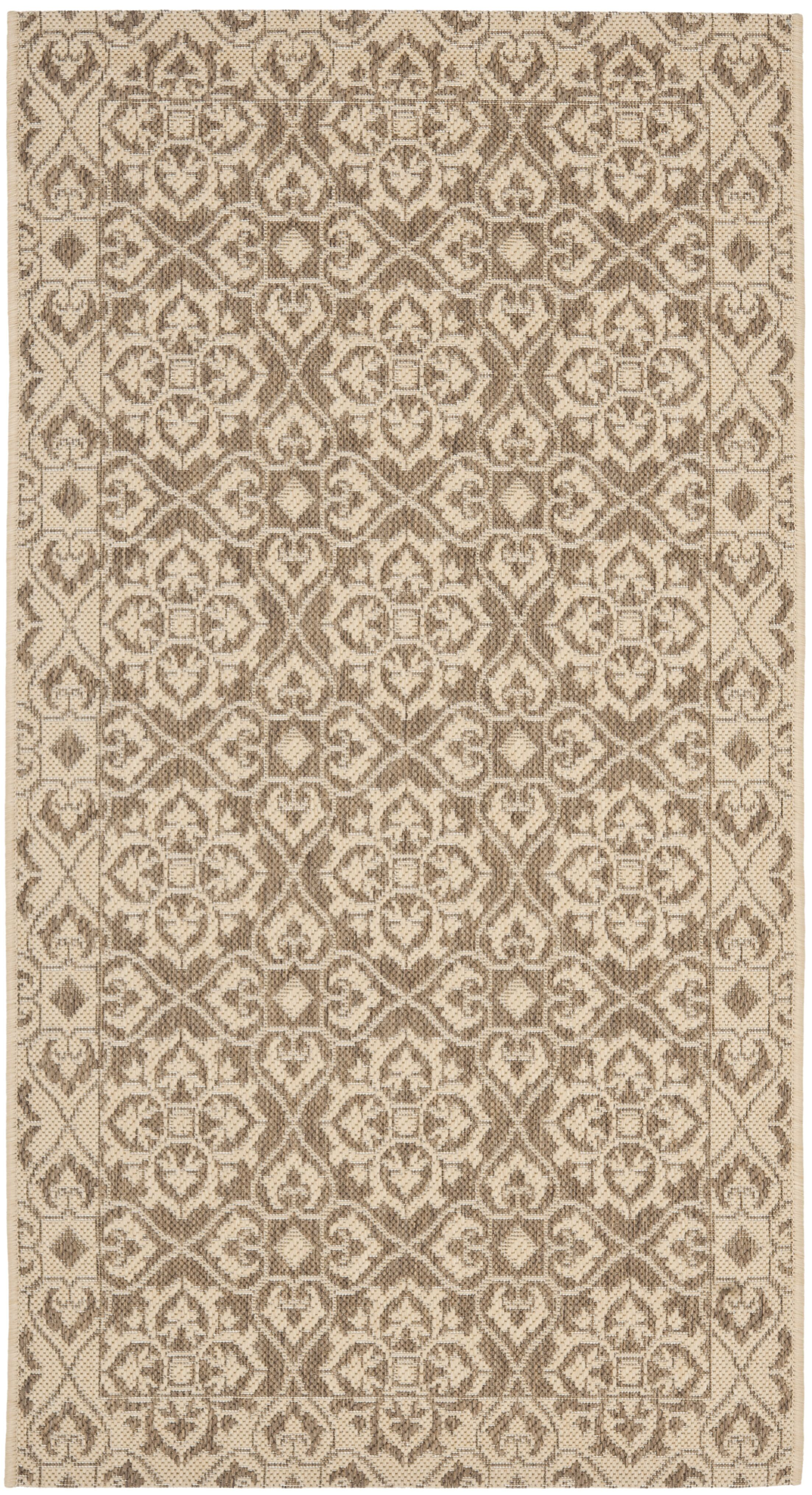 Short Brown / Creme Indoor/Outdoor Rug Rug Size: Rectangle 5'3