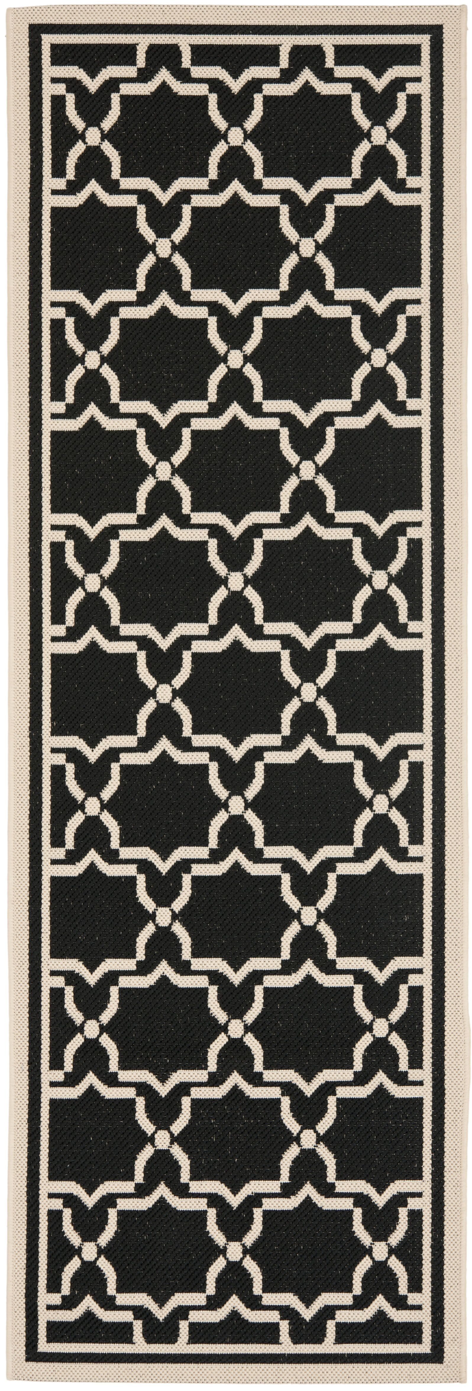 Short Black & Beige Area Rug Rug Size: Runner 2'4