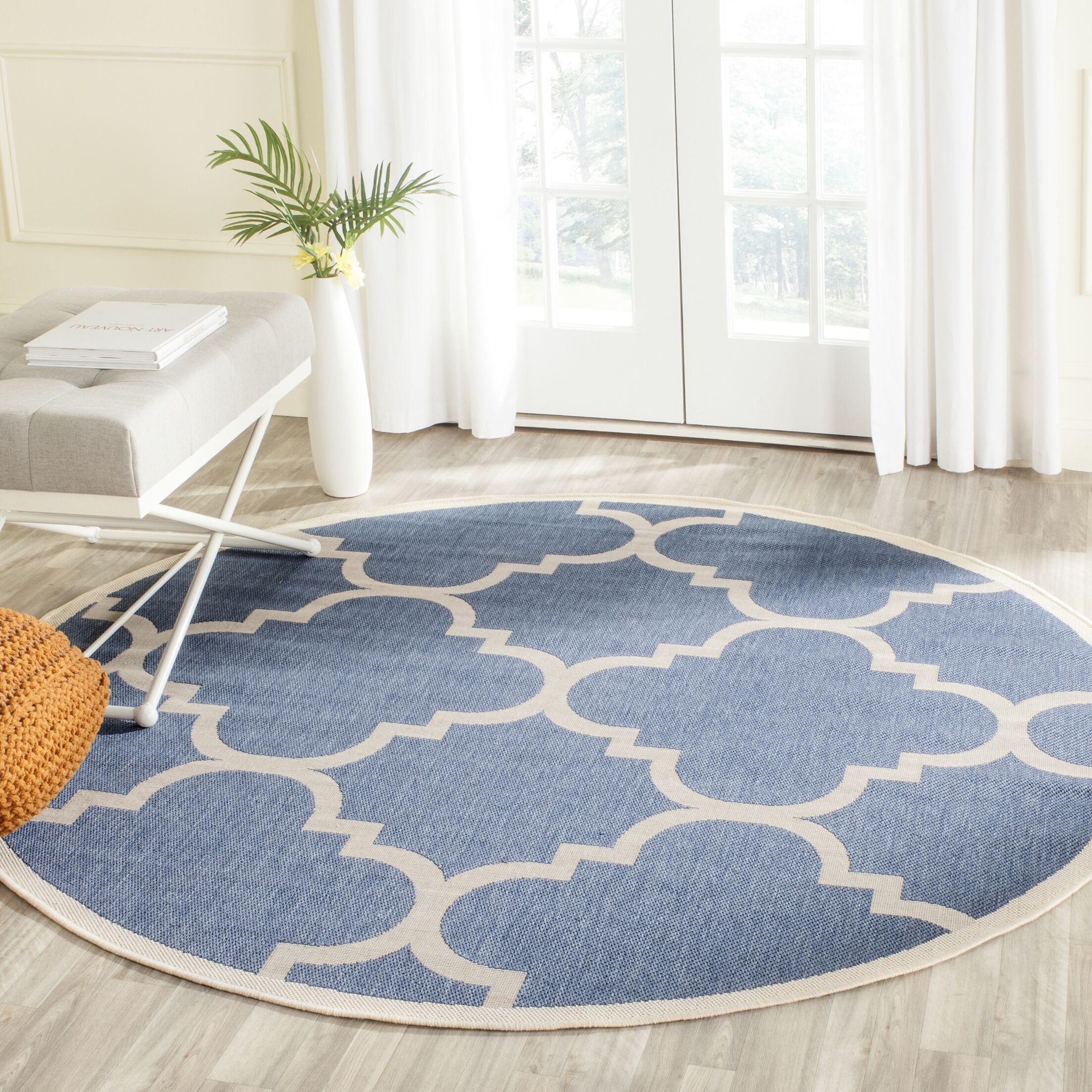 Short Lattice Blue/Beige Indoor/Outdoor Area Rug Rug Size: Round 5'3