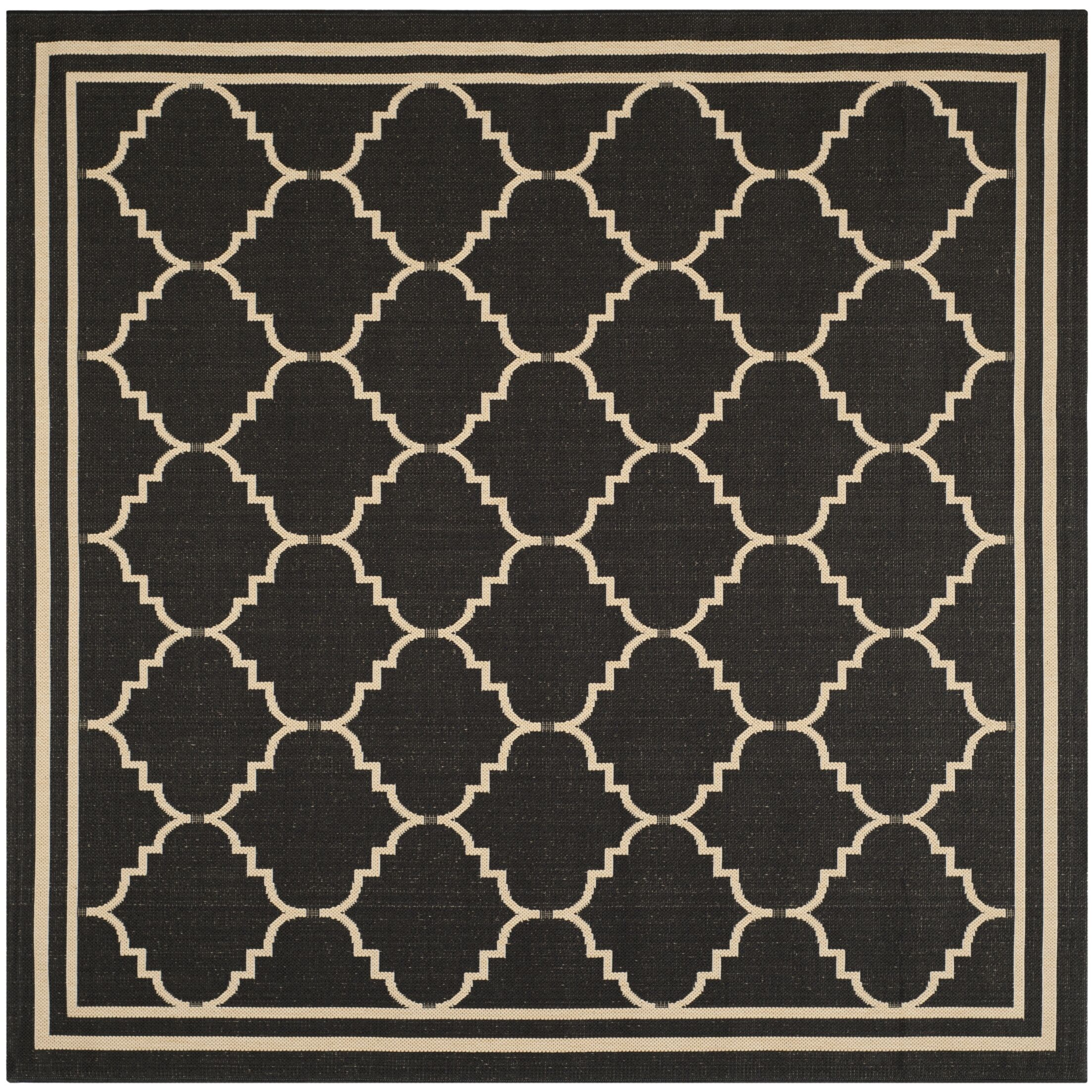 Short Black/Creme Outdoor Area Rug Rug Size: Square 6'7