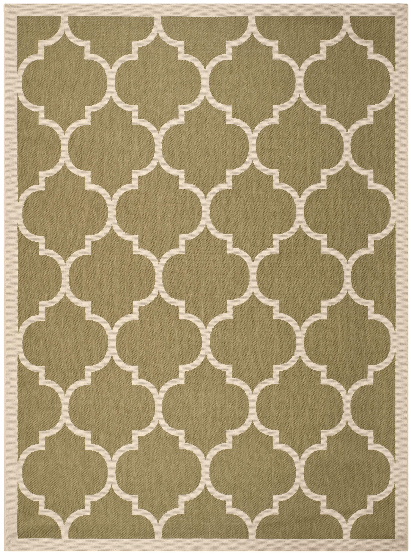 Short Green/Beige Indoor/Outdoor Area Rug Rug Size: Rectangle 8' x 11'