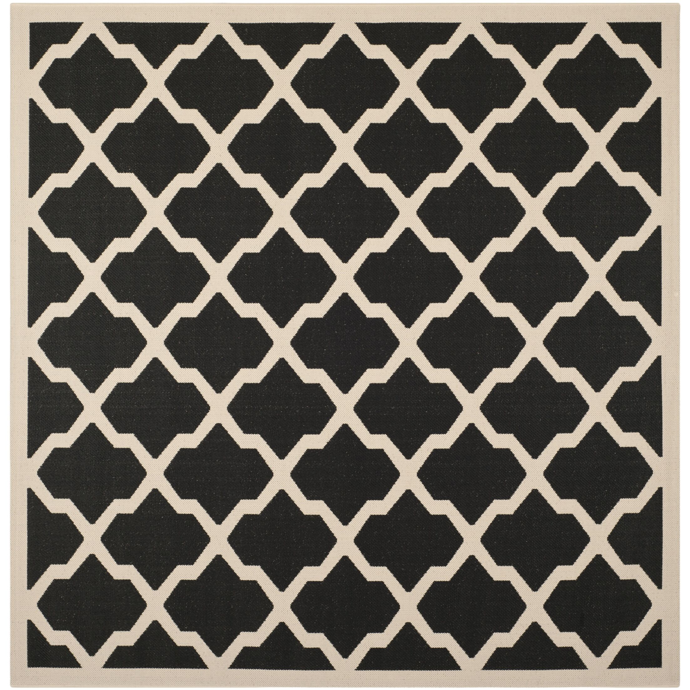 Short Black/Beige Trellis Outdoor Rug Rug Size: Square 7'10