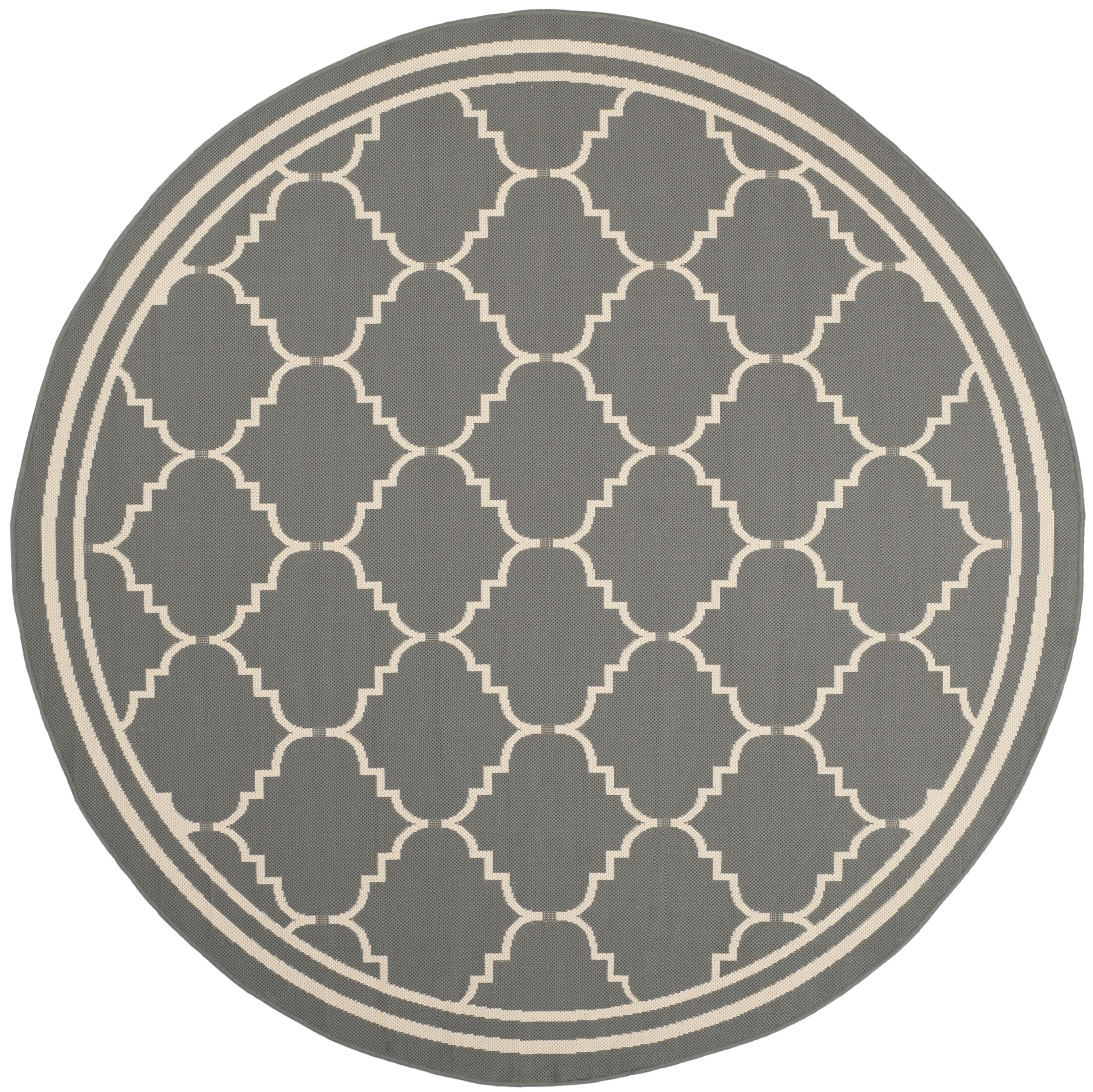 Short Gray/Ivory Indoor/Outdoor Area Rug Rug Size: Round 6'7