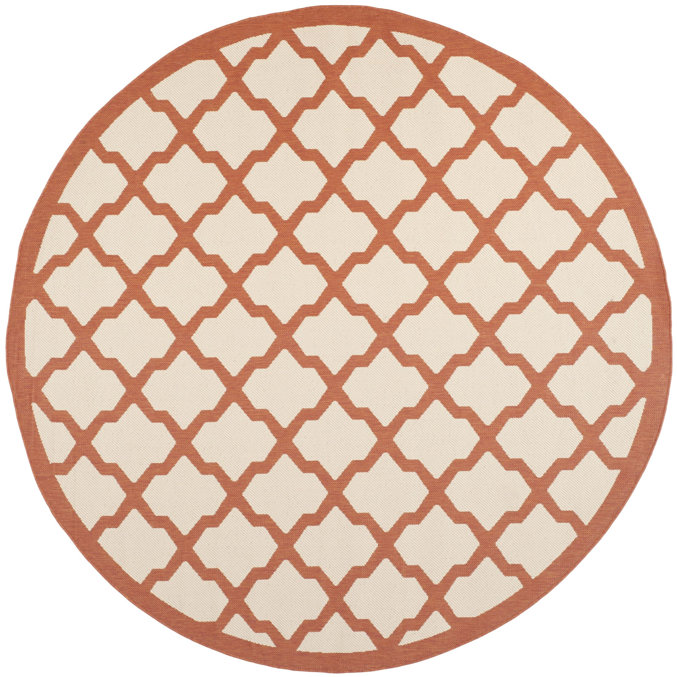 Short Beige/Terracotta Indoor/Outdoor Area Rug Rug Size: Round 7'10