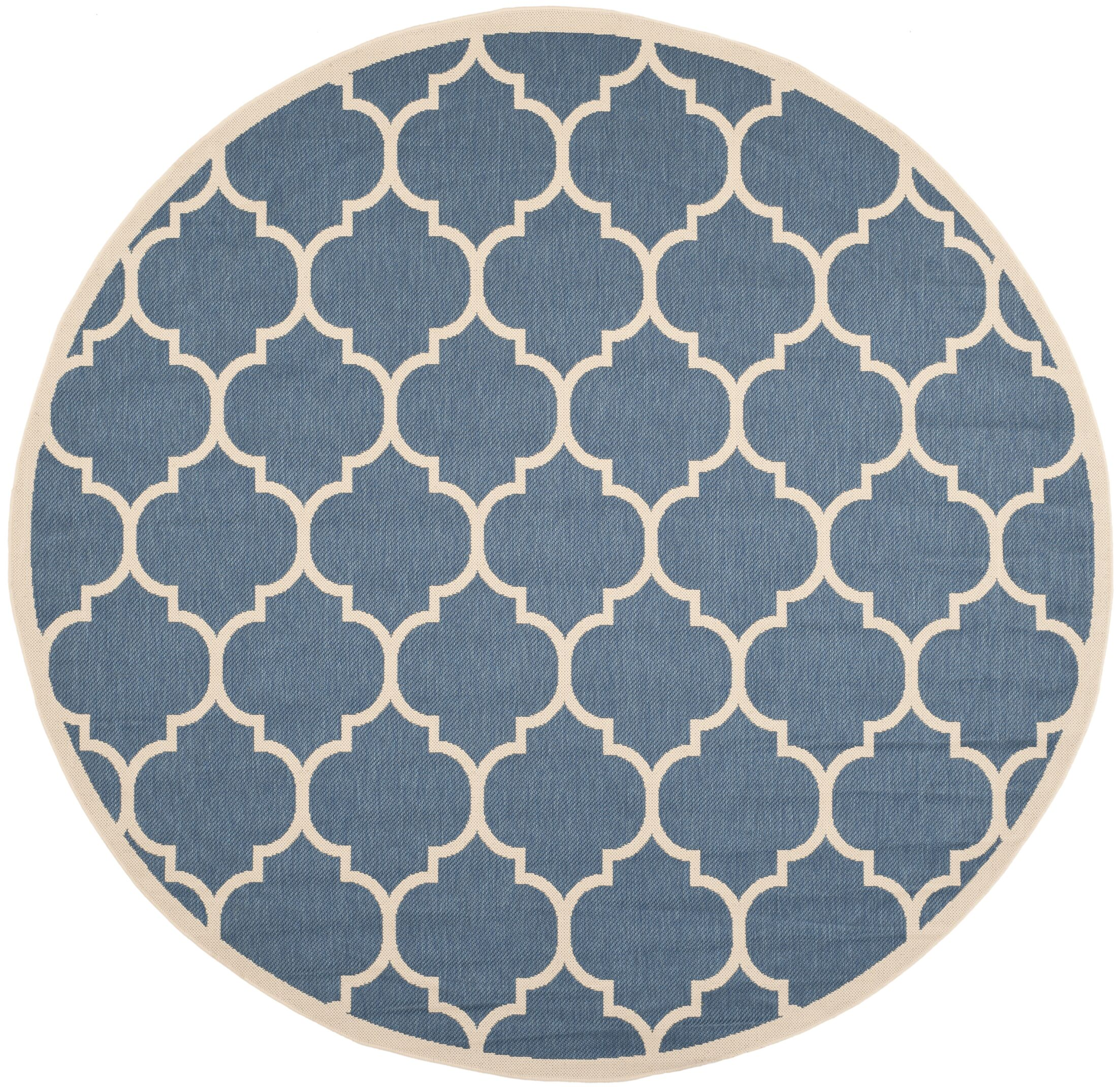 Short Blue/Beige Indoor/Outdoor Area Rug Rug Size: Round 5'3