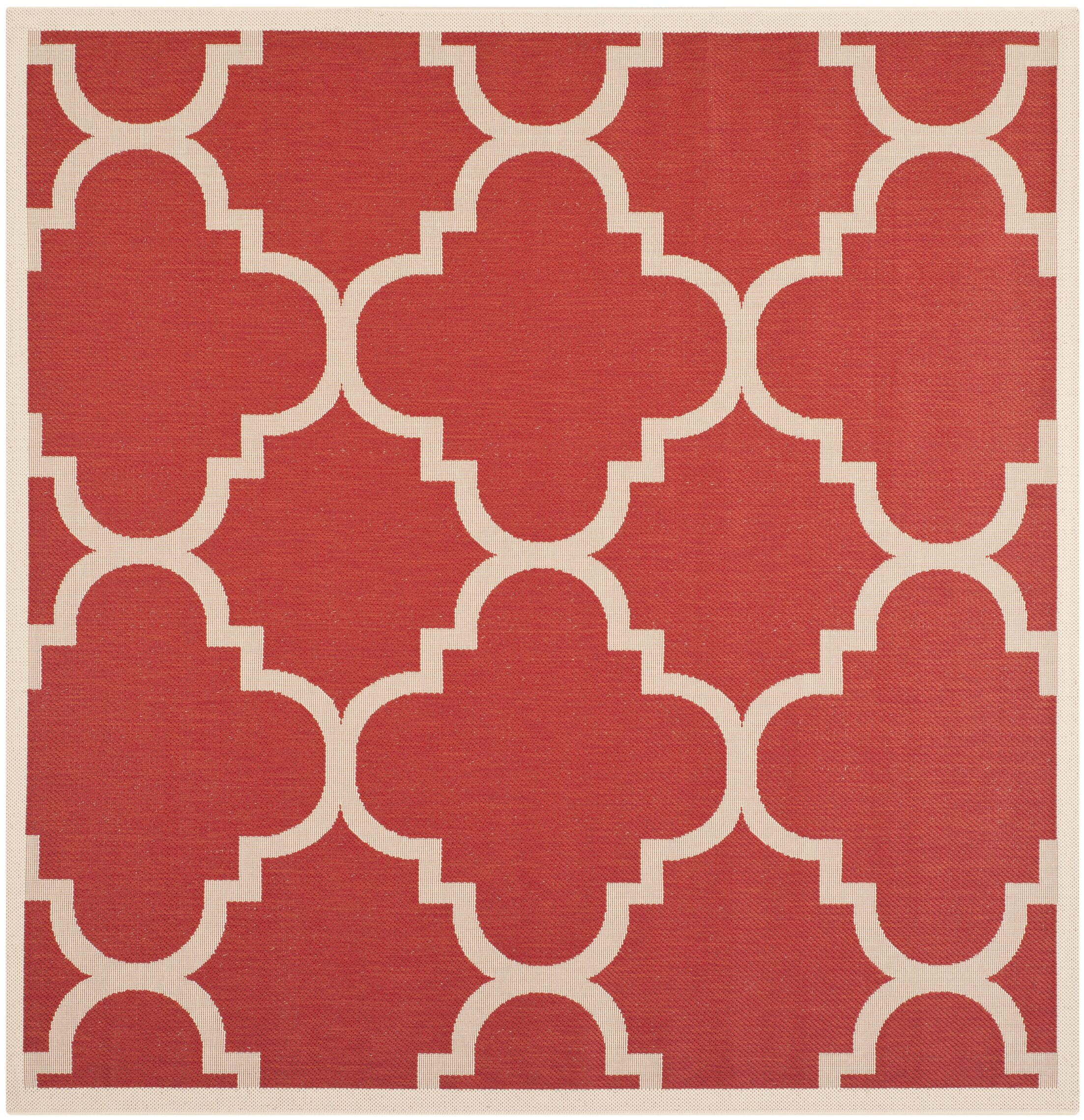 Short Red/Beige Indoor/Outdoor Area Rug Rug Size: Square 5'3