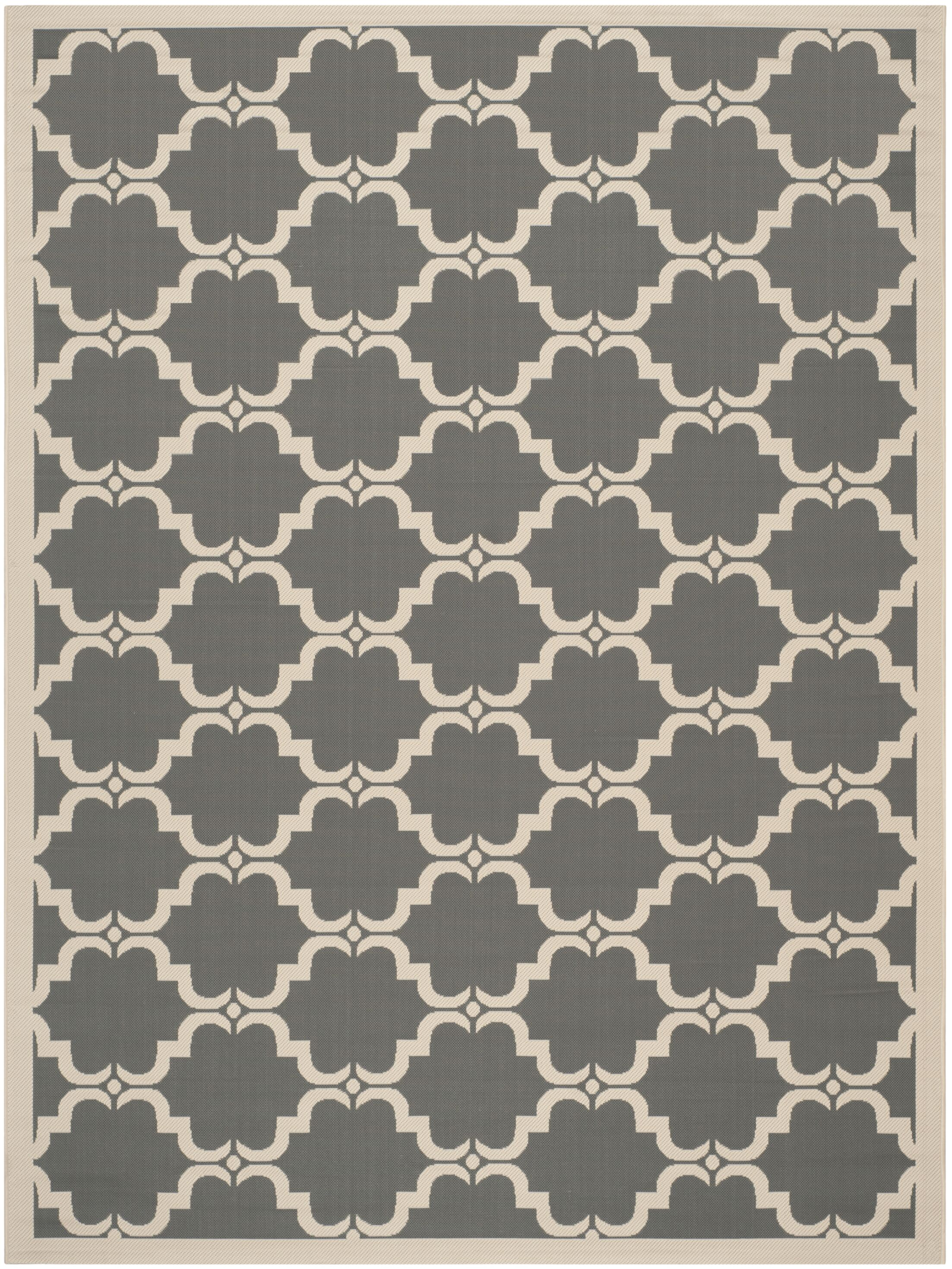 Short Anthracite/Beige Geometric Contemporary Rug Rug Size: 9' x 12'