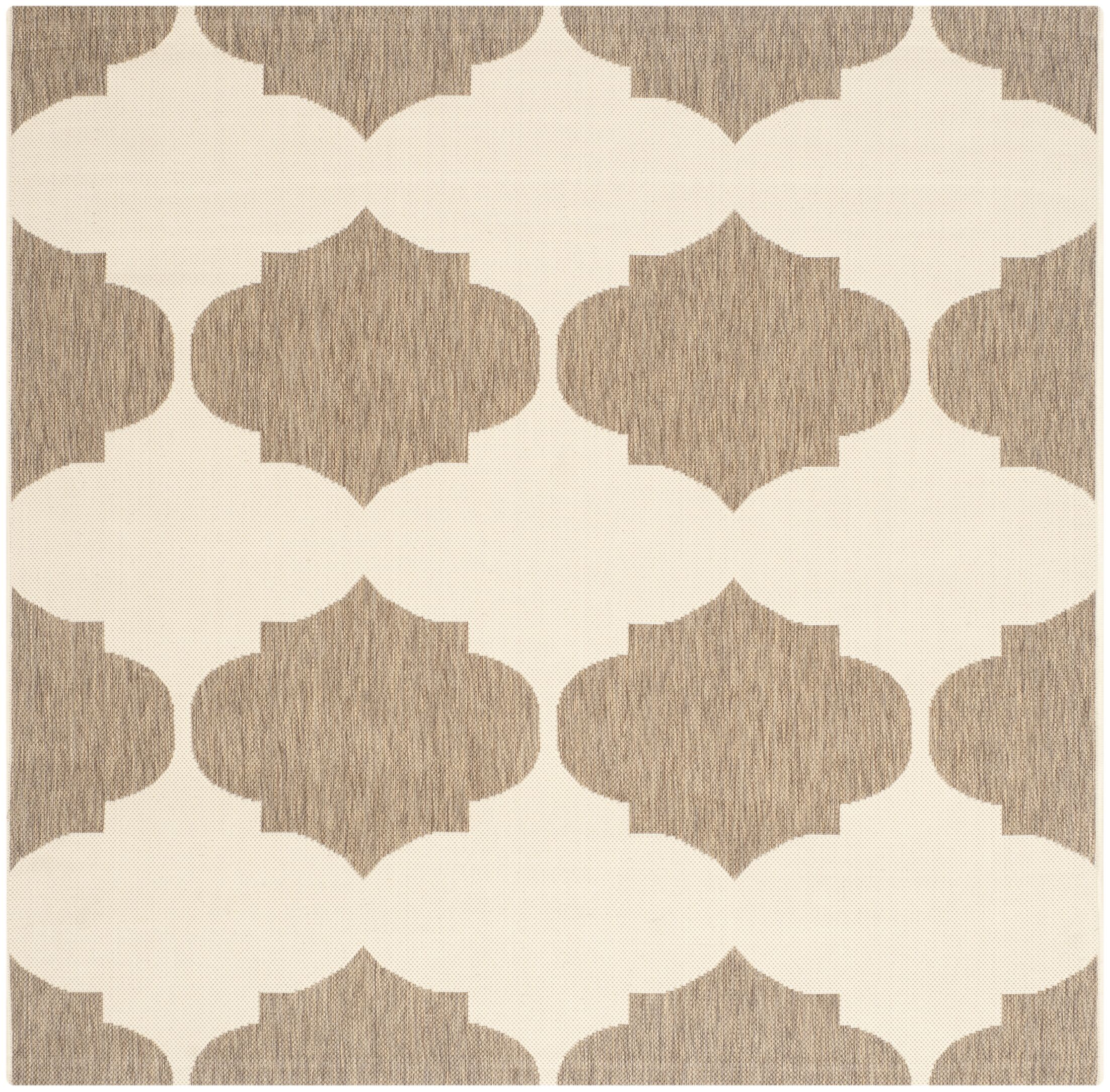 Short Beige/Brown Contemporary Rug Rug Size: Square 5'3