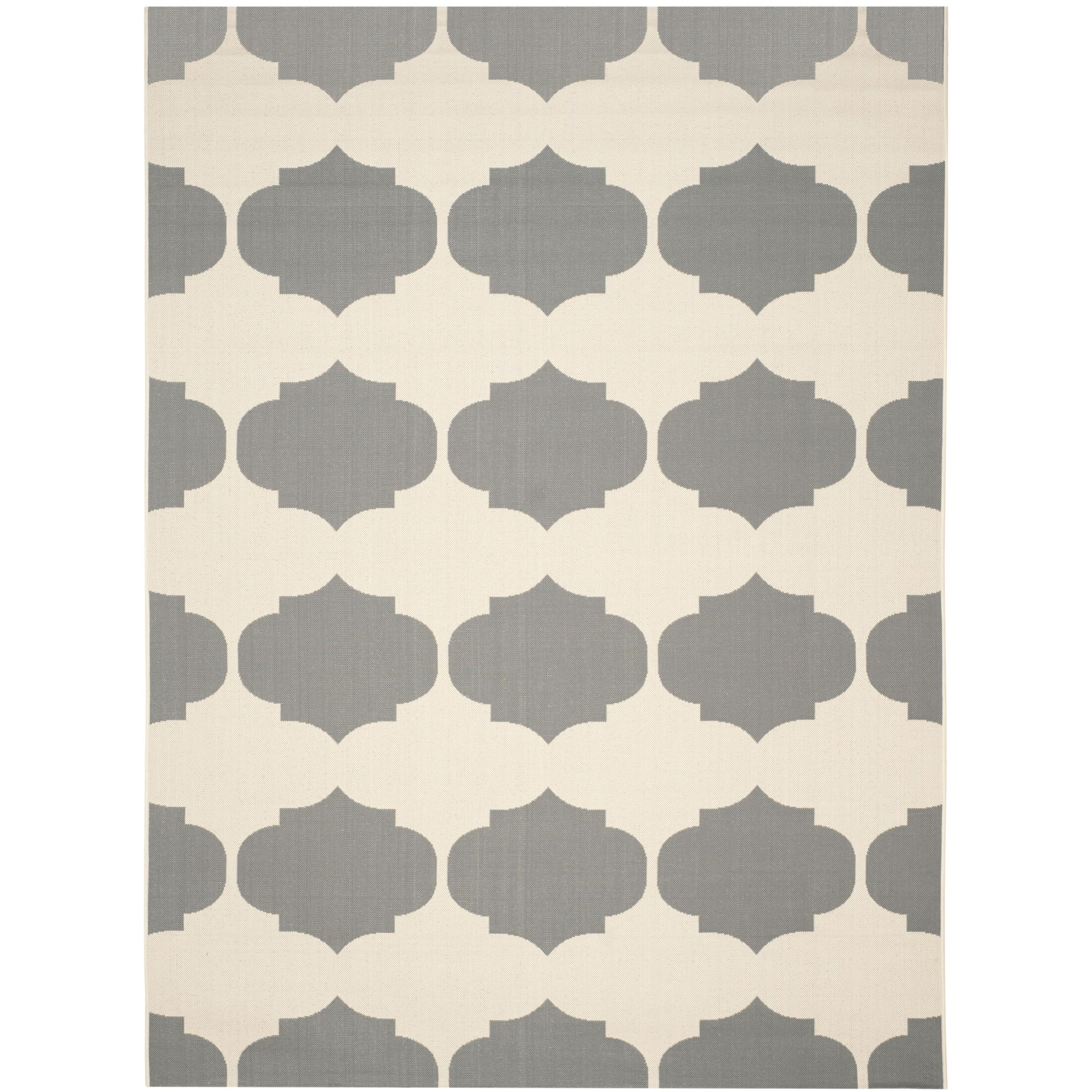 Short Beige/Anthracite Contemporary Rug Rug Size: Rectangle 5'3