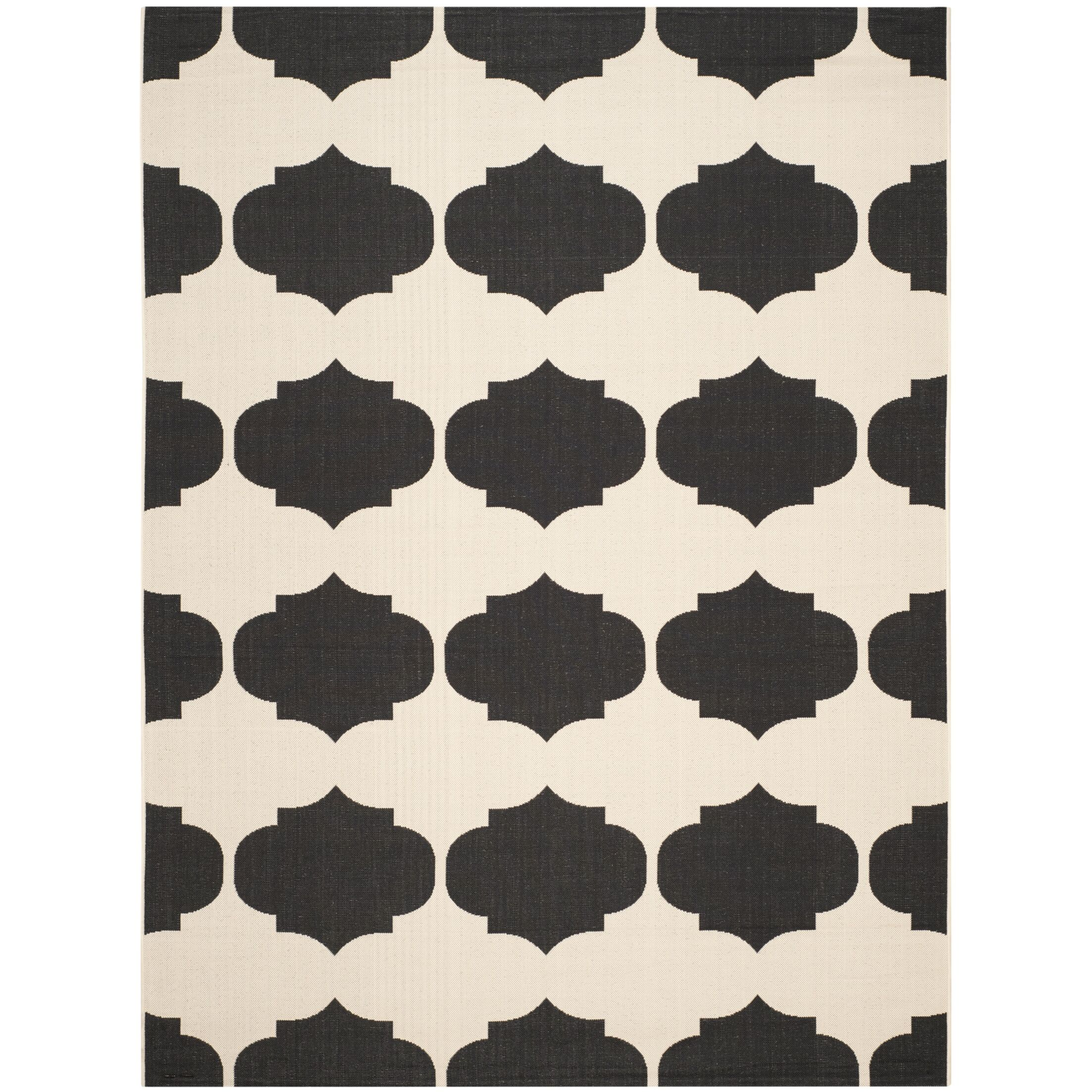Short Beige/Black Contemporary Rug Rug Size: Rectangle 8' x 11'