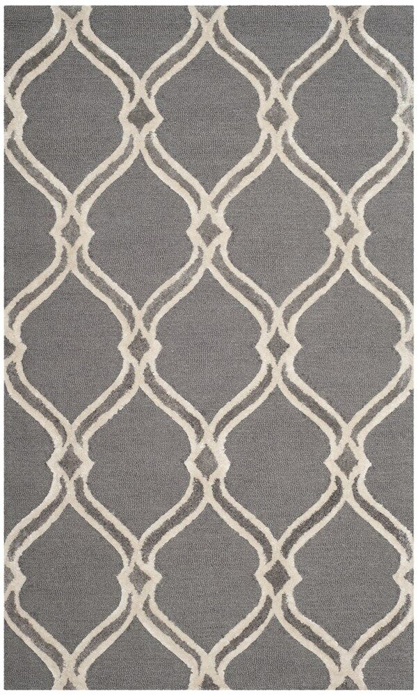 Garrison Hand-Tufted Dark Gray/Ivory Area Rug Rug Size: Rectangle 3' x 5'