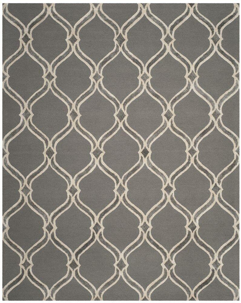 Garrison Hand-Tufted Dark Gray/Ivory Area Rug Rug Size: Rectangle 8' x 10'
