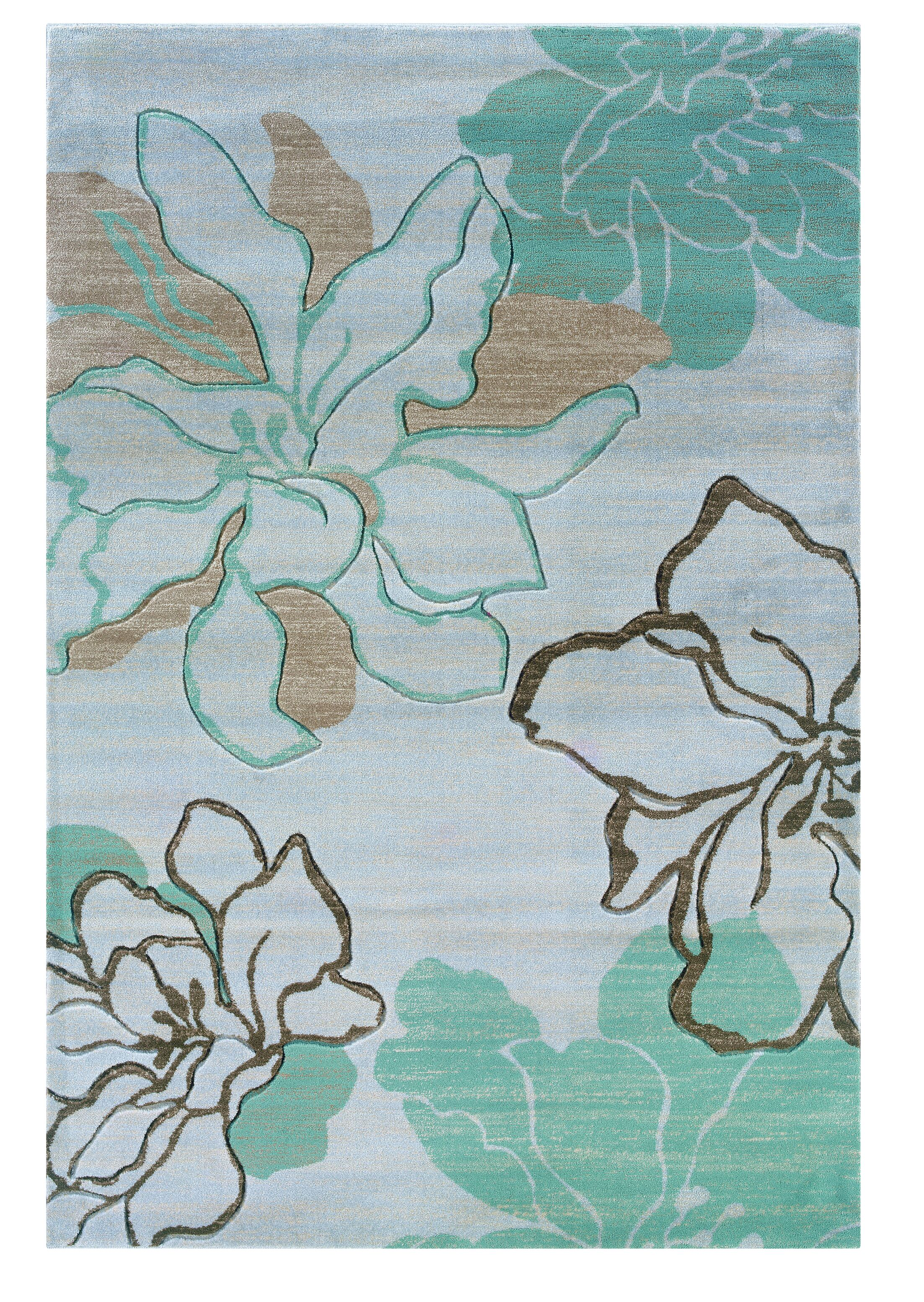 Carlee Ivory/Turquoise Area Rug Rug Size: Rectangle 5' x 7'7