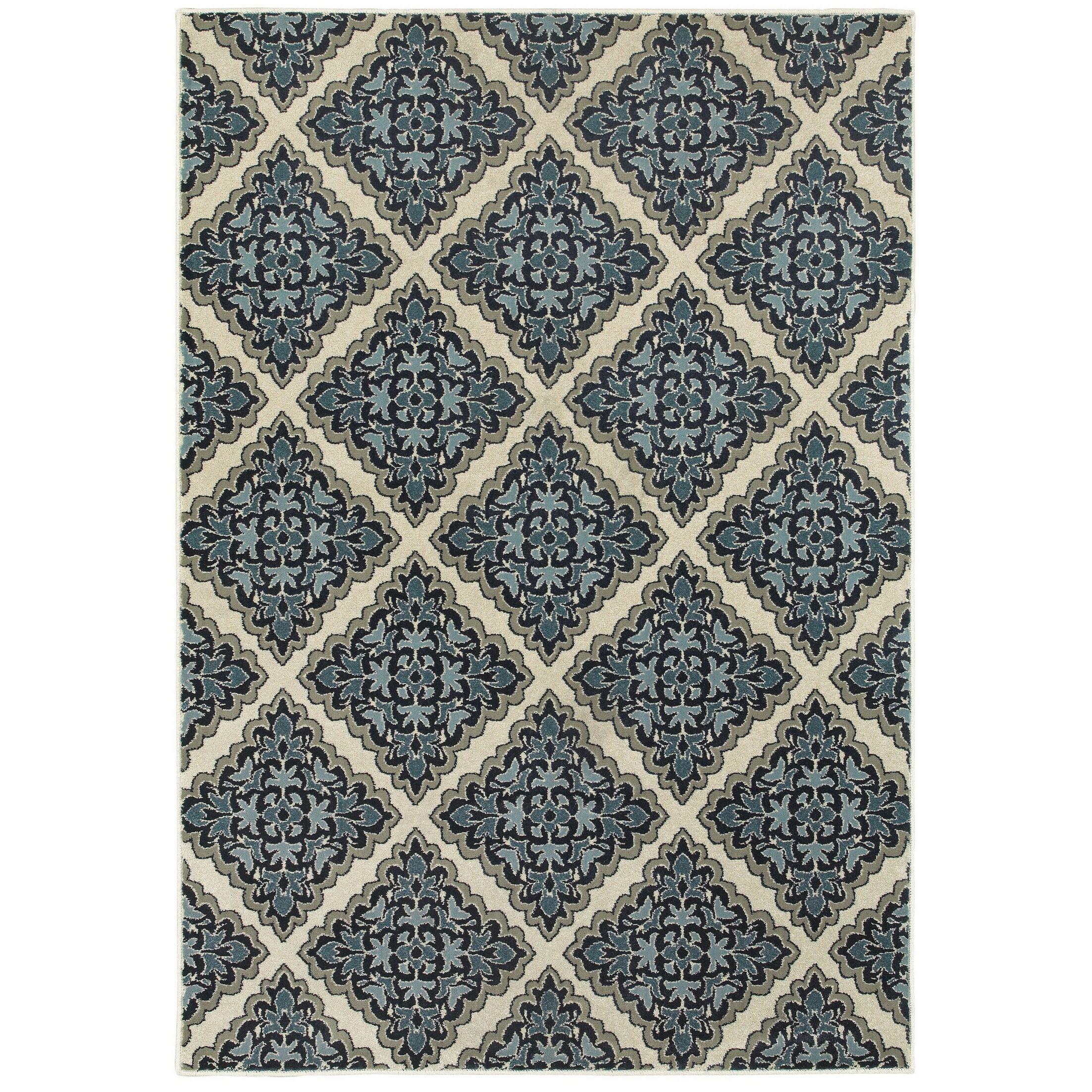 Boykins Ivory/Blue Area Rug Rug Size: Rectangle 3'10