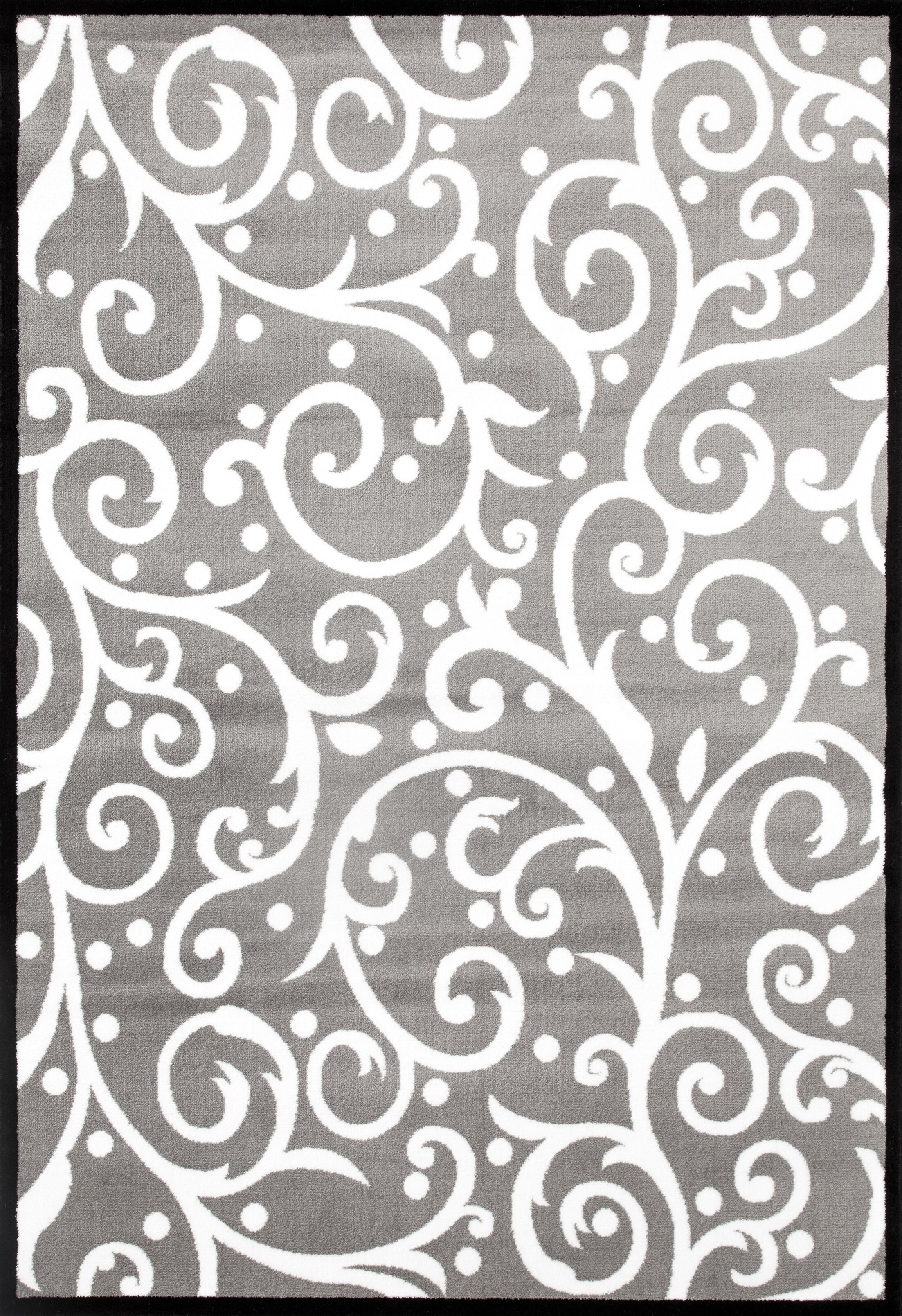 Sharen Gray/White Area Rug Rug Size: 5'3