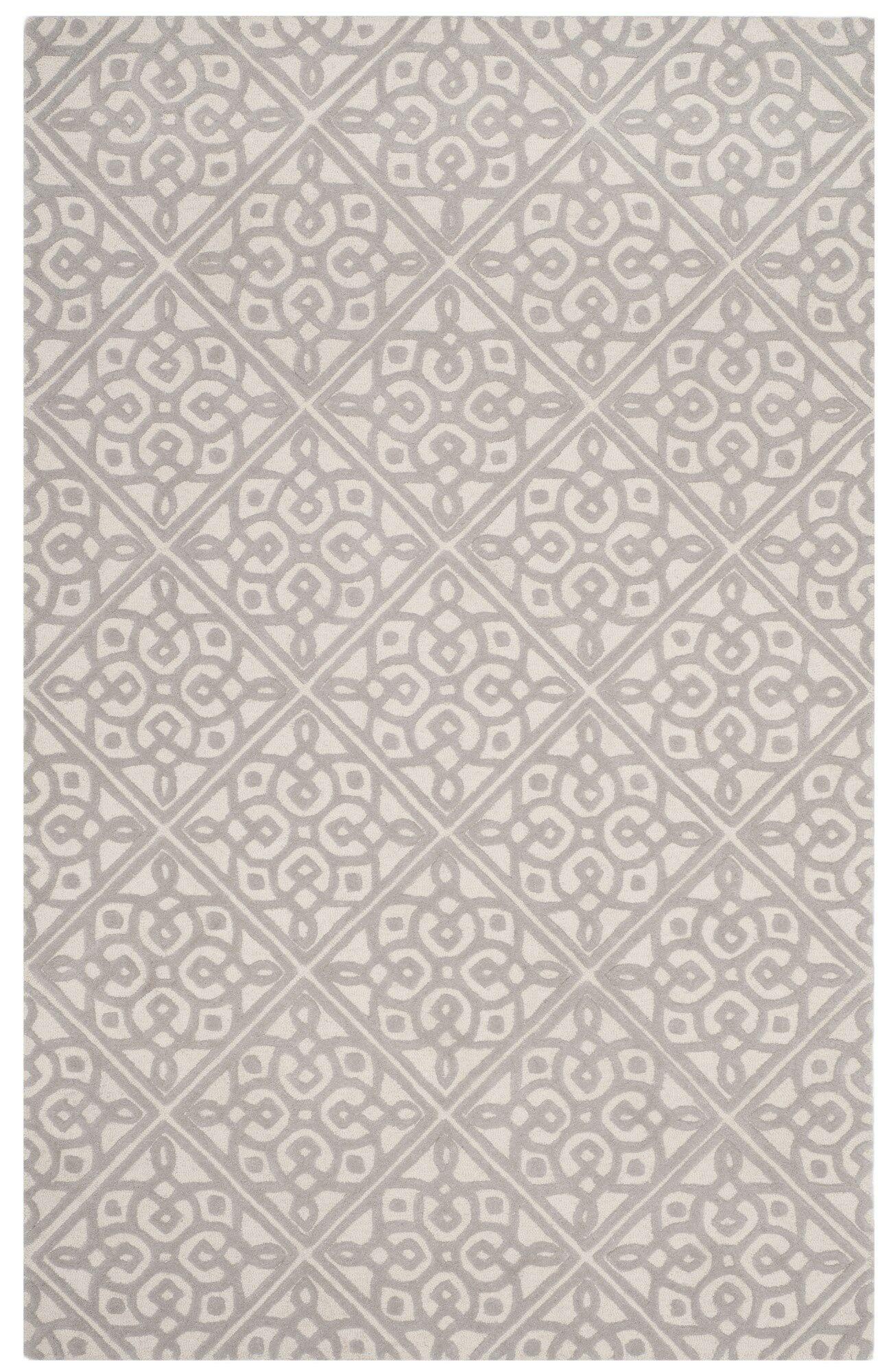 Mahoney Hand-Tufted Ivory/Gray Area Rug Rug Size: Rectangle 5' x 8'