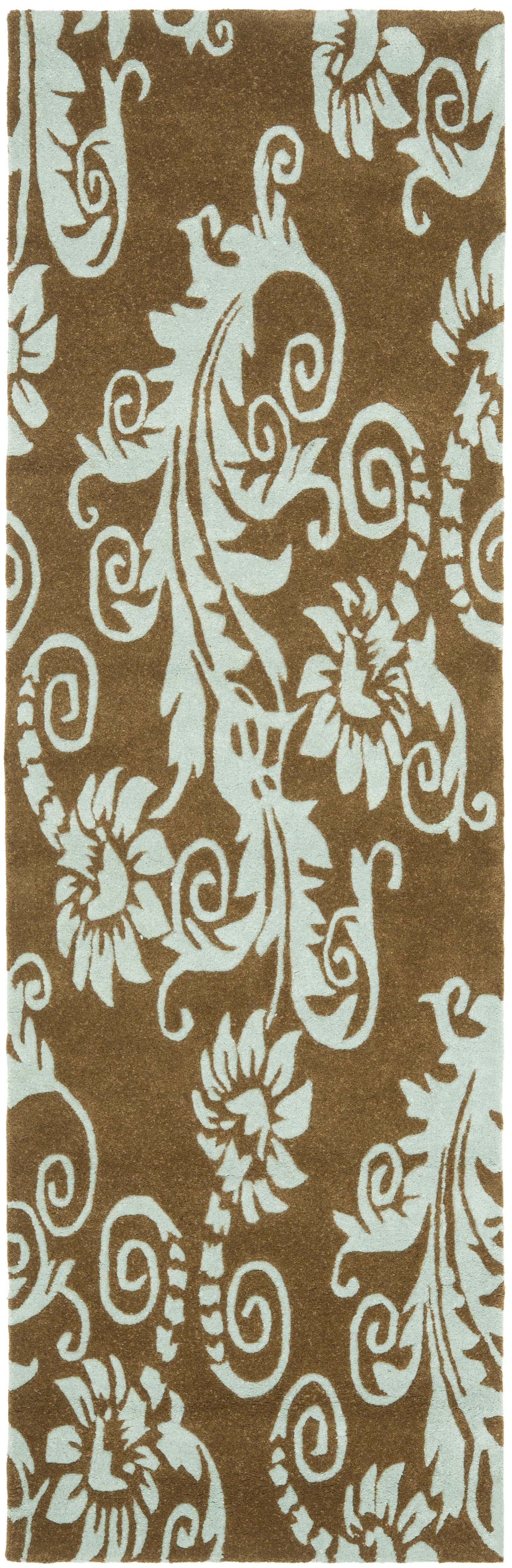 Armstrong Light Brown / Light Blue Contemporary Rug Rug Size: Runner 2'6