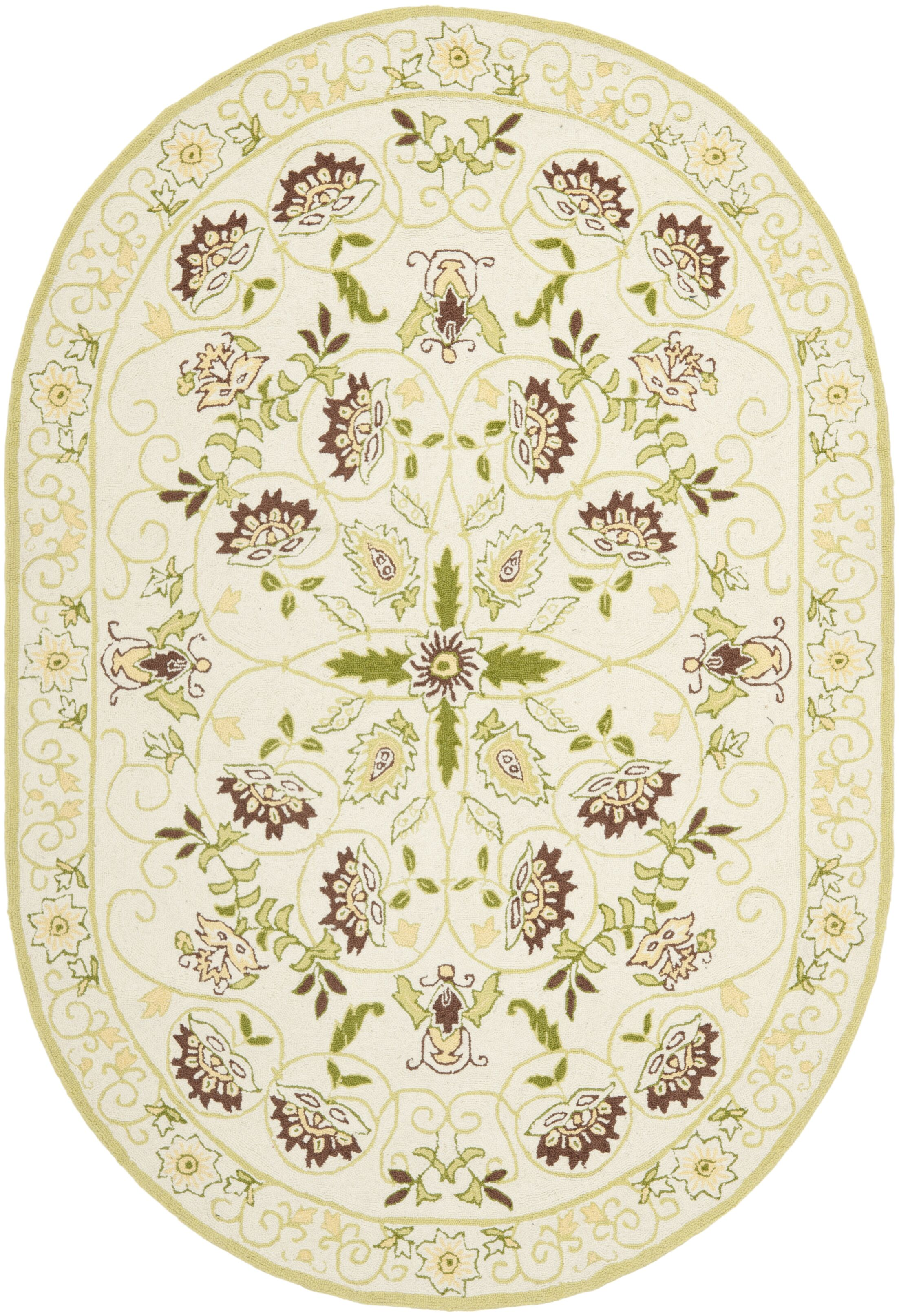 Martin Ivory / Green Area Rug Rug Size: Oval 4'6