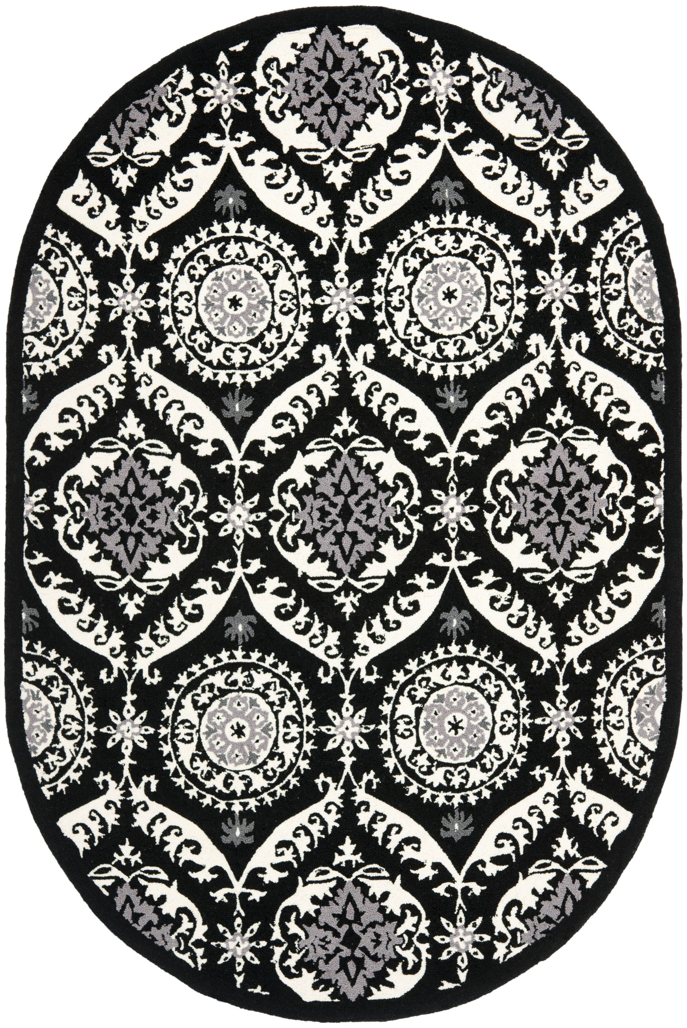 Nesbitt Black/Ivory Rug Rug Size: Round 5'6