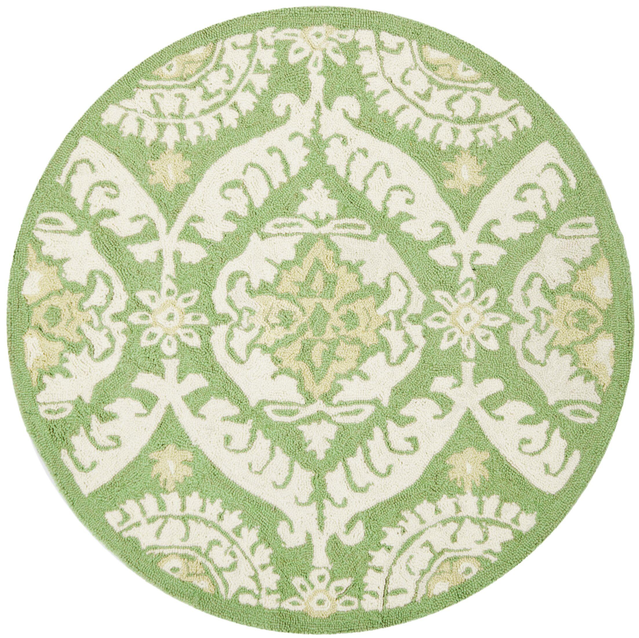 Nesbitt Hand Hooked Green/Beige Area Rug Rug Size: Round 8'