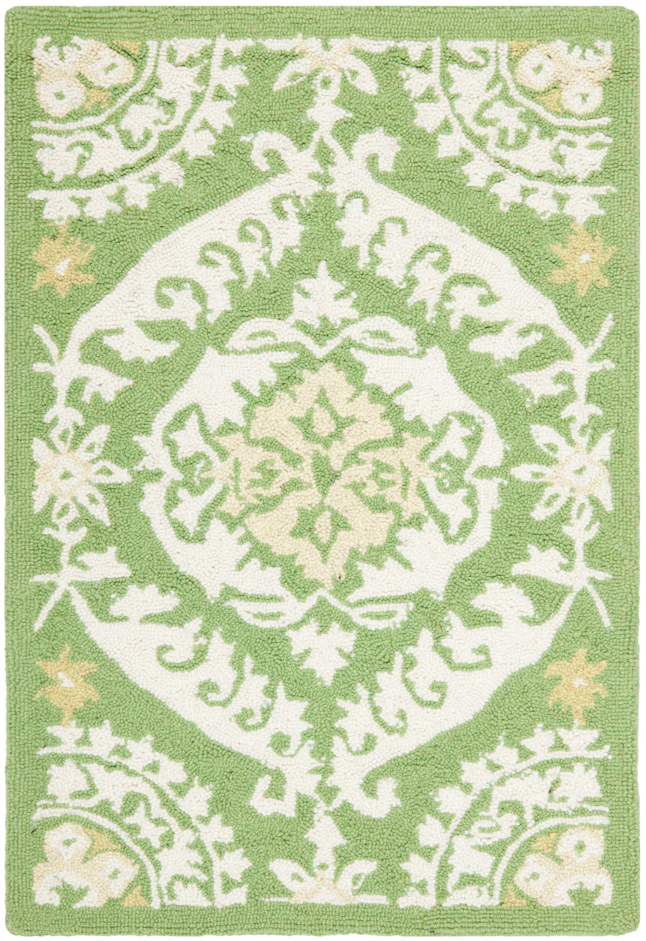 Nesbitt Hand Hooked Green/Beige Area Rug Rug Size: Rectangle 8'9
