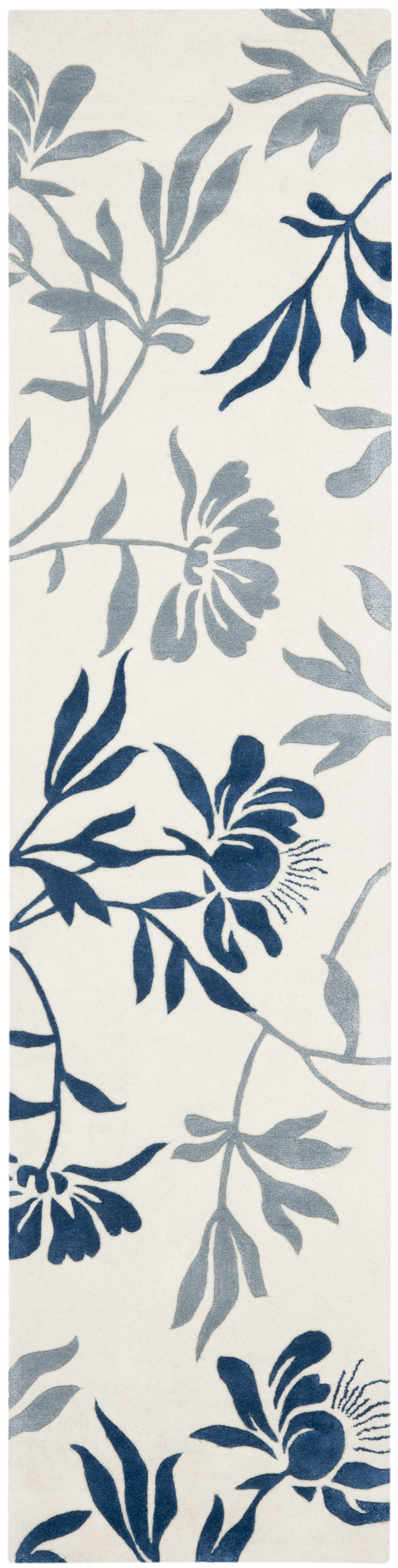 Trudie Hand-Woven Wool Ivory/Blue Area Rug Rug Size: Runner 2'3