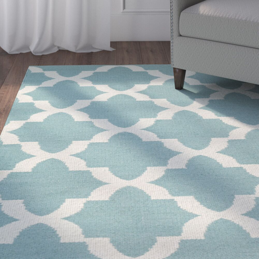 Tyesha Hand-Tufted Teal/White Indoor/Outdoor Area Rug Rug Size: Rectangle 8' x 10'