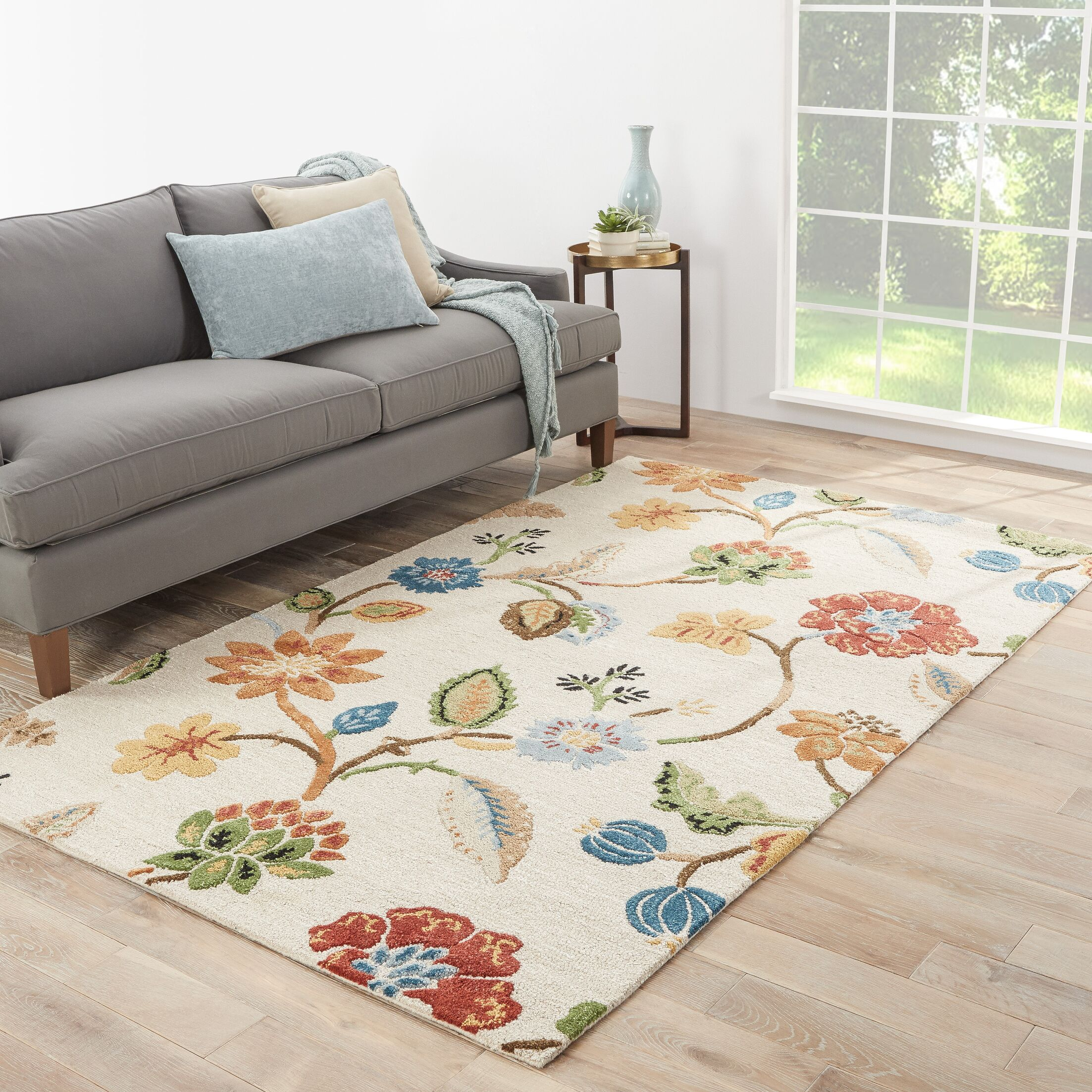 Willette Garden Party Grey Area Rug Rug Size: Rectangle 3'6
