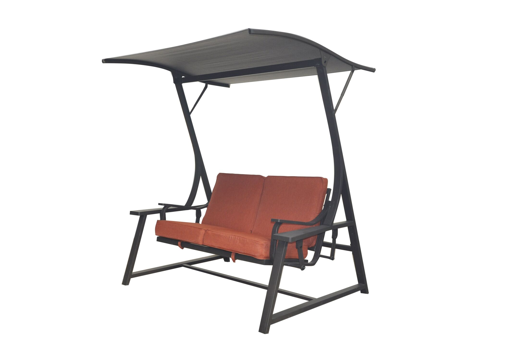 Marquette Glider Porch Swing with Stand Cushion Fabric: Red