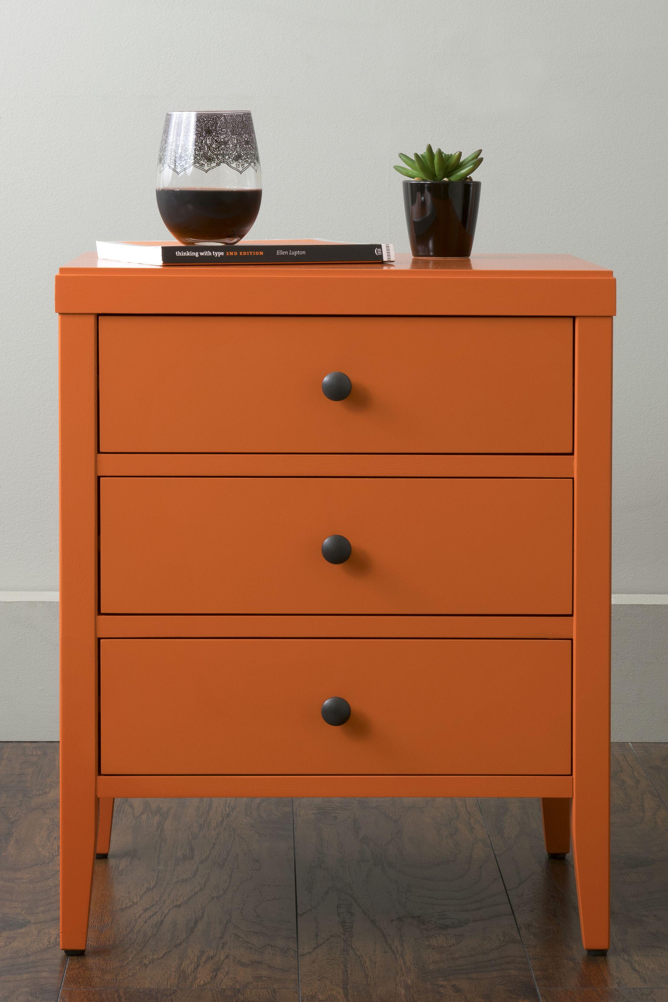 Rushville 3 Drawer Nightstand Color: Orange