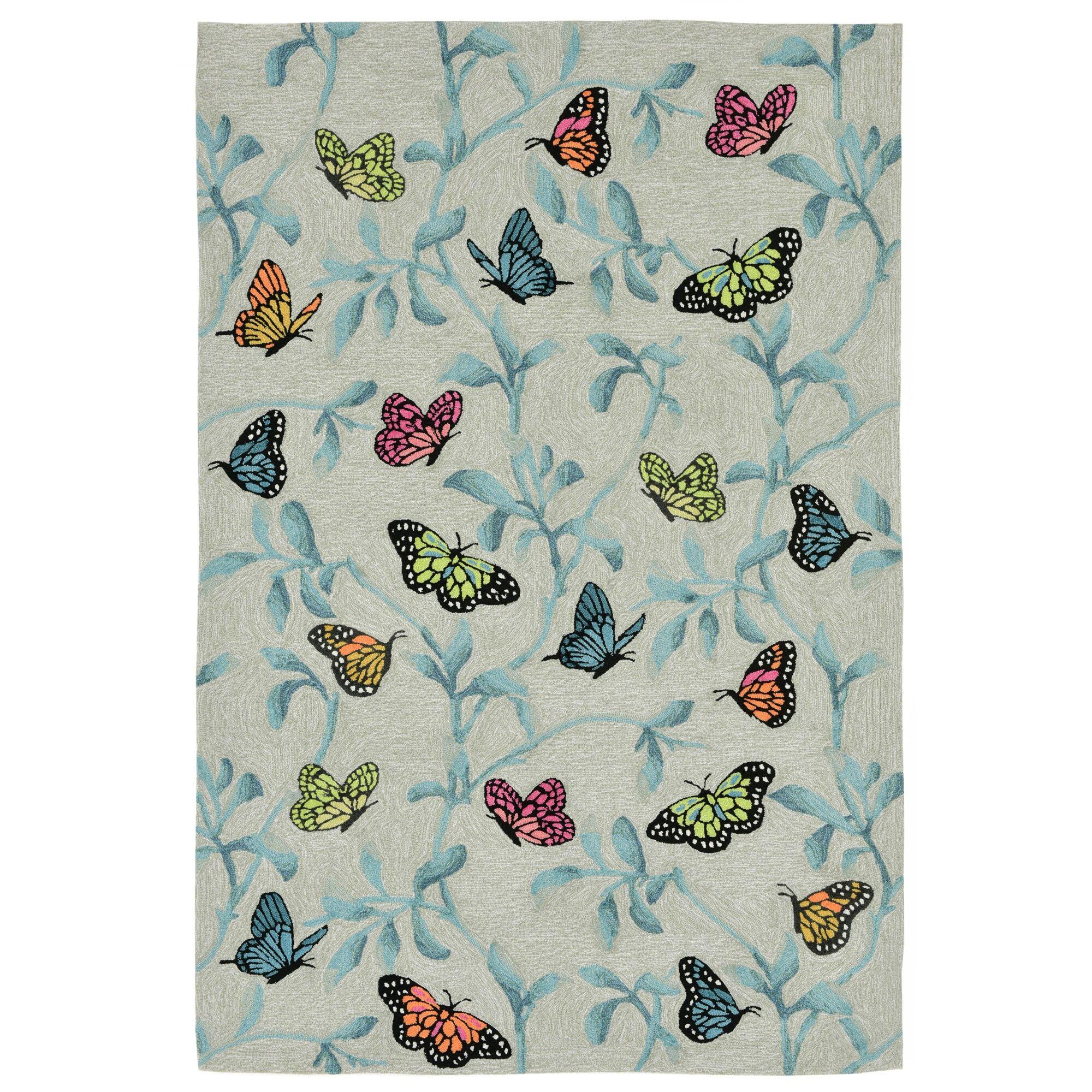 Haverstraw Hand-Tufted Beige/Blue Indoor/Outdoor Area Rug Rug Size: 5' x 7'6