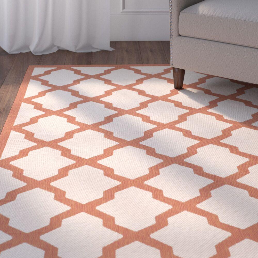 Short Beige/Terracotta Indoor/Outdoor Area Rug Rug Size: Rectangle 5'3