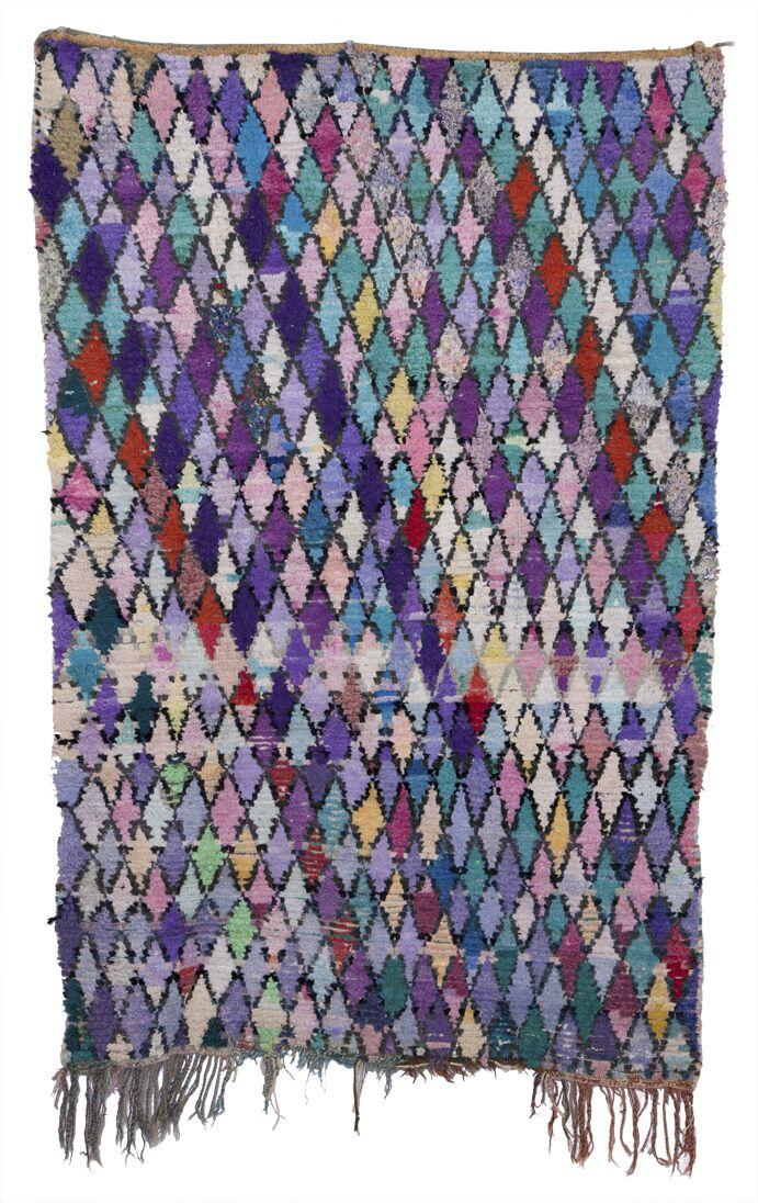 Boucherouite Azilal Hand-Woven Green/Purple Area Rug