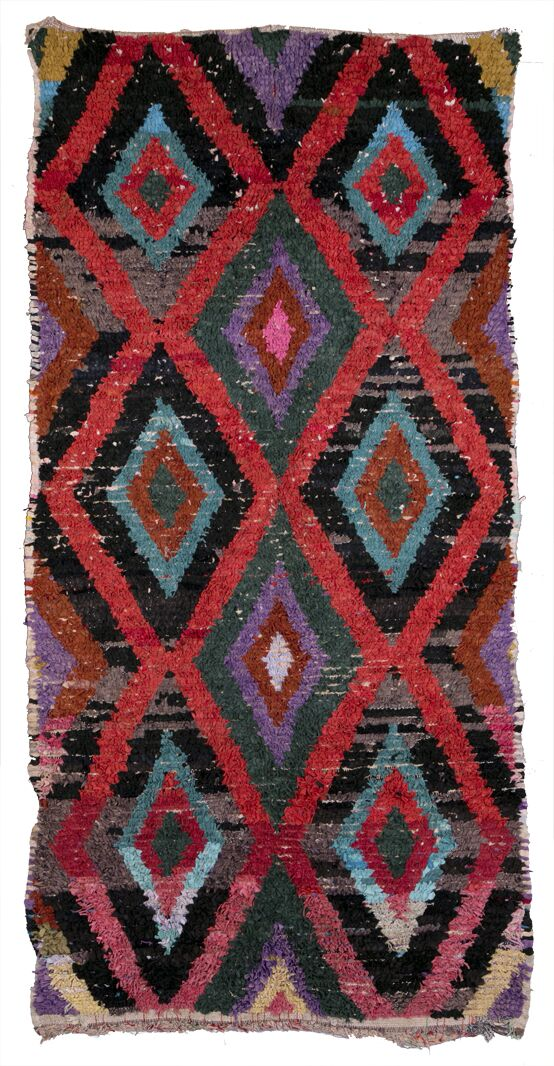 Boucherouite Azilal Hand-Woven Red Area Rug