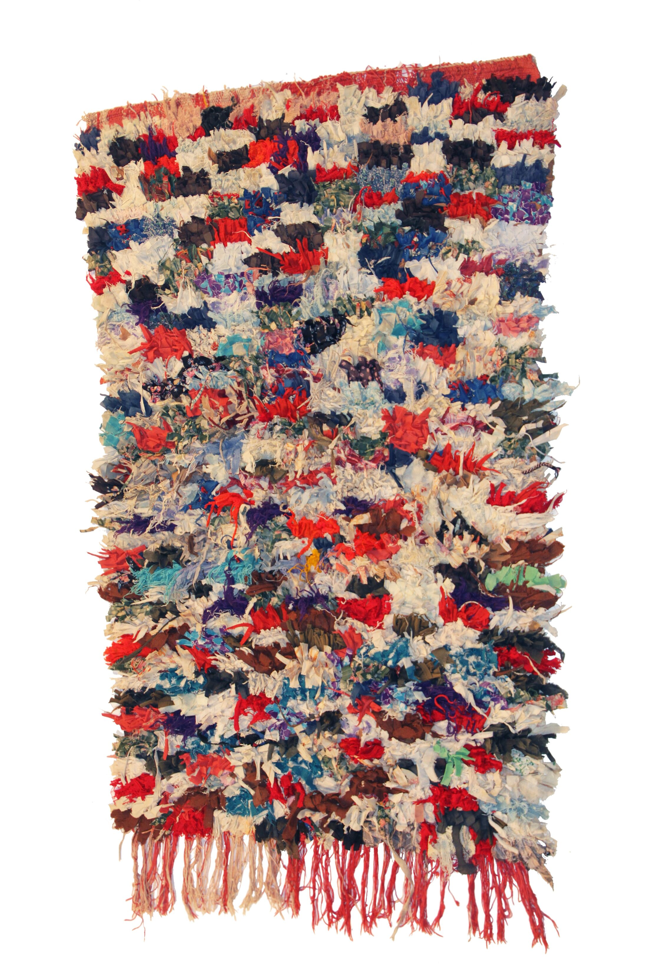 Boucherouite Azilal Hand-Woven Blue/Red Area Rug