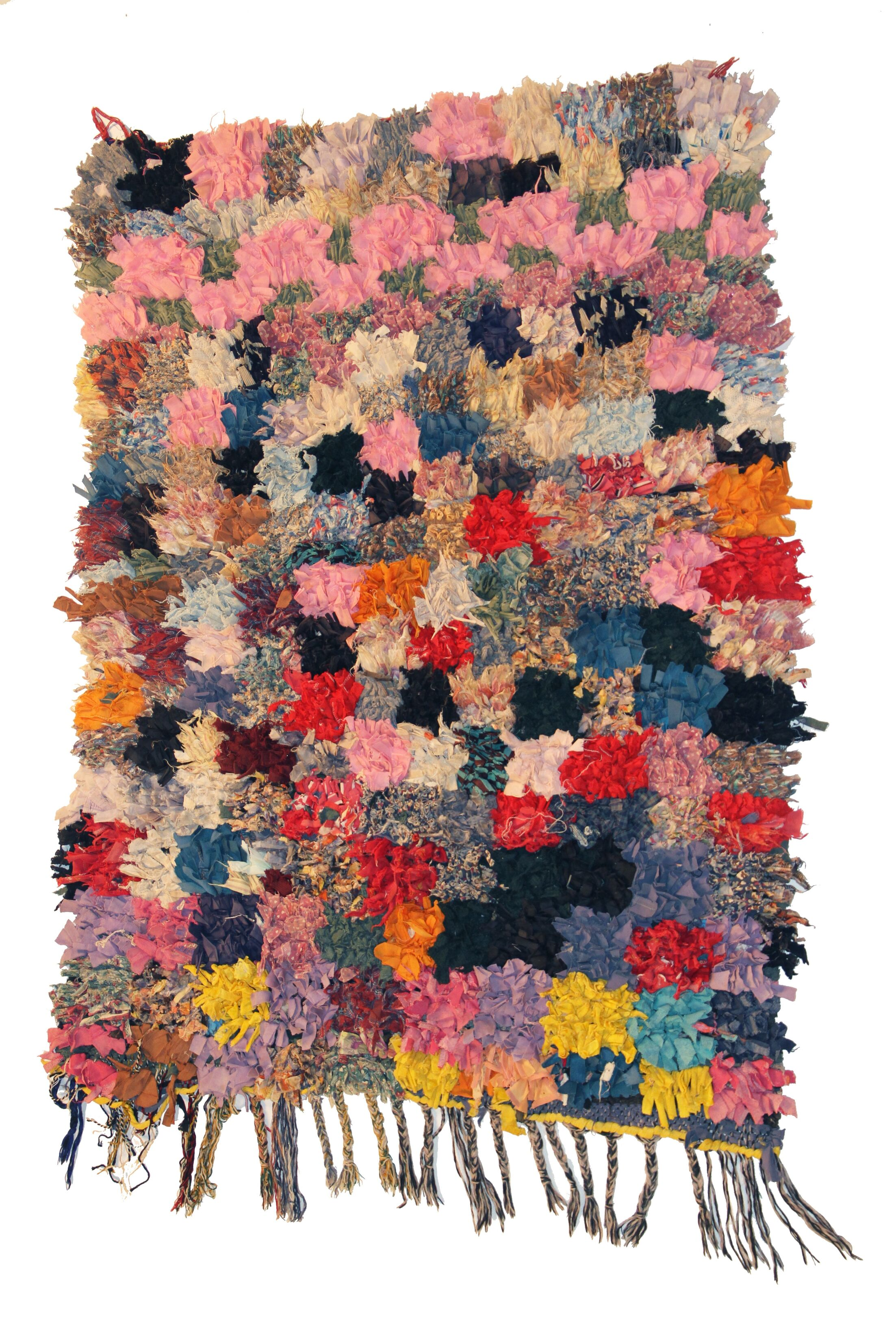 Boucherouite Azilal Hand-Woven Pink/Blue Area Rug