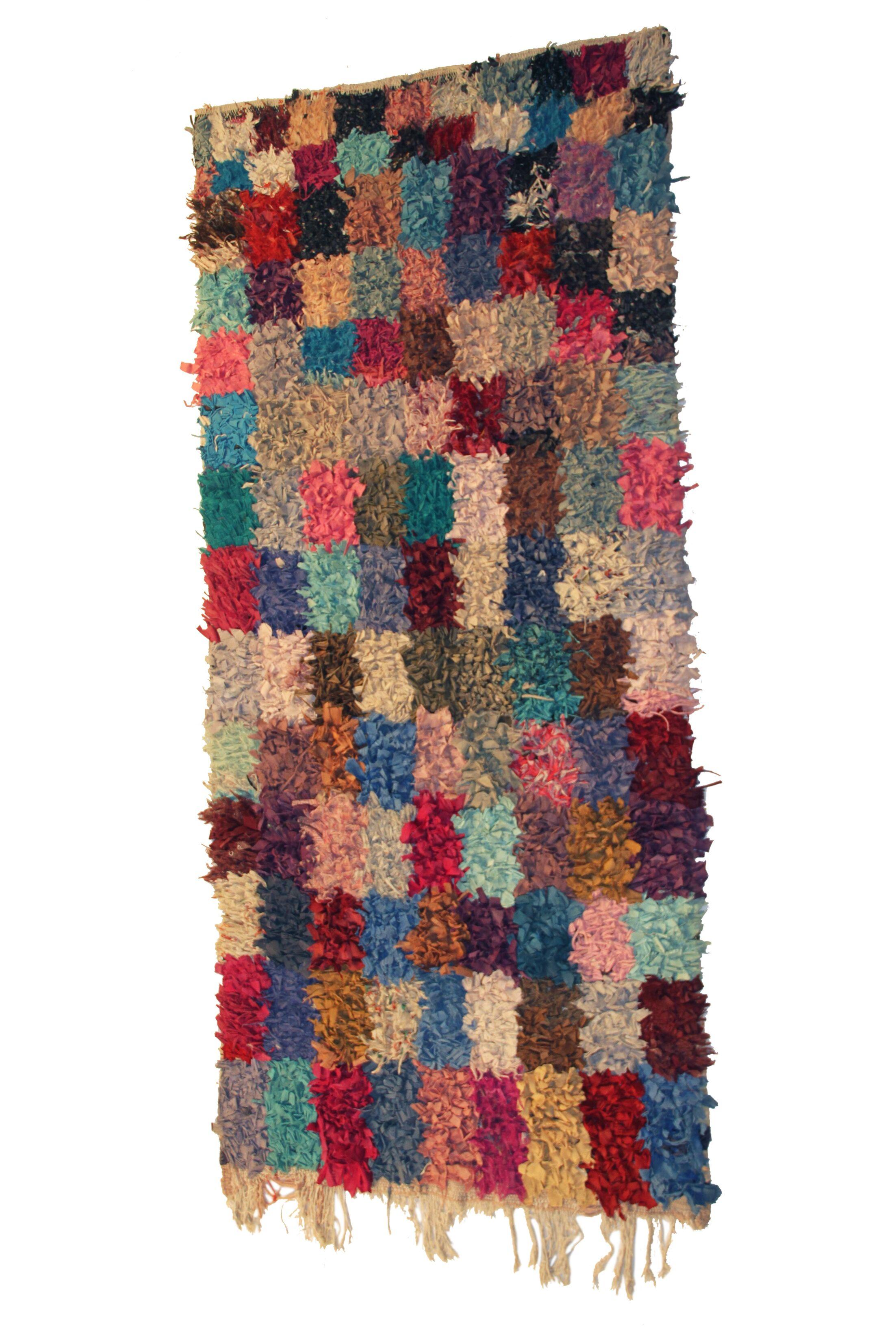 Boucherouite Azilal Hand-Woven Blue/Brown Area Rug