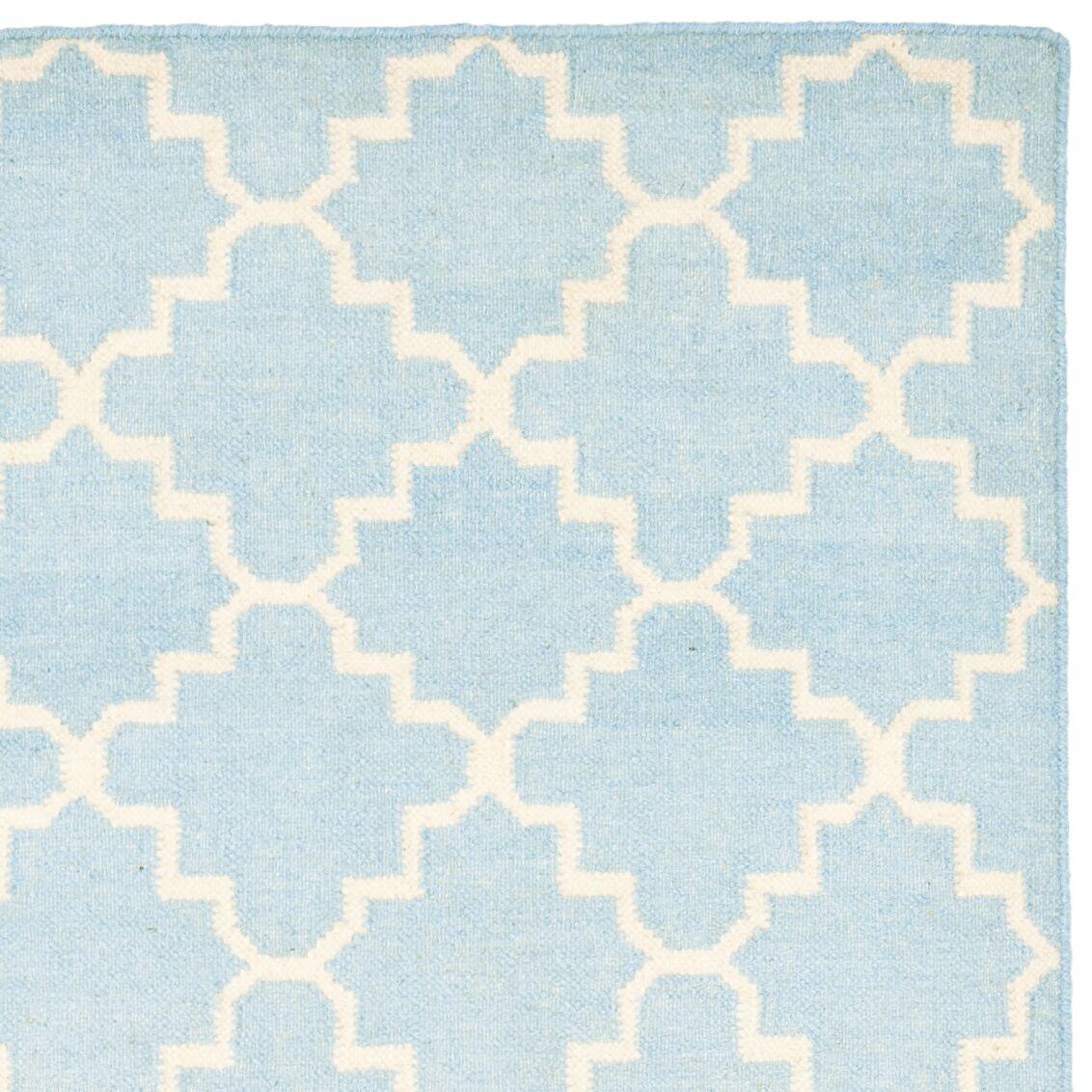 Danbury Hand-Woven Wool Light Blue/Ivory Area Rug Rug Size: Rectangle 10' x 14'