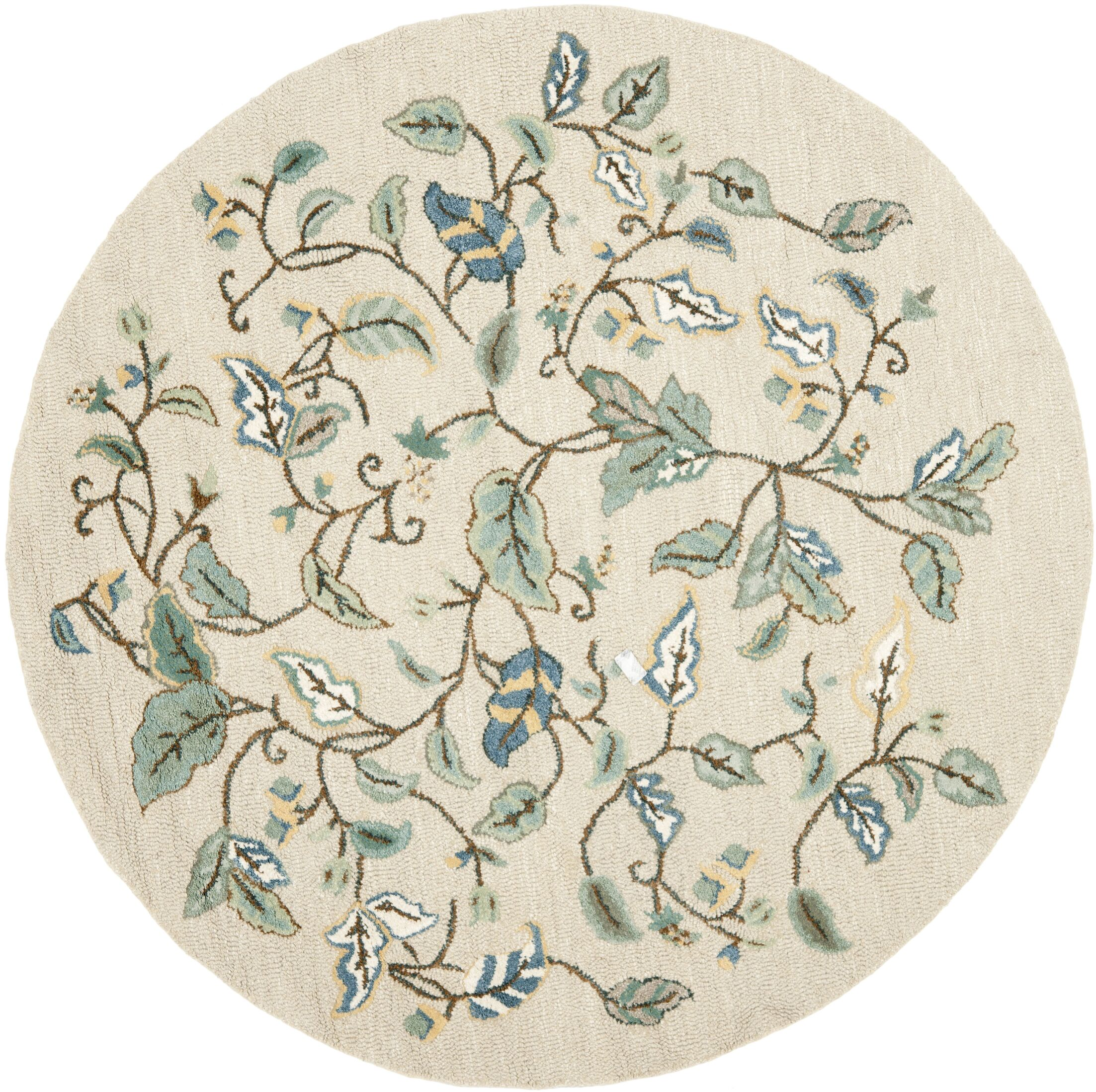 Autumn Woods Hand-Tufted Colonial Blue Area Rug Rug Size: Round 6' x 6'