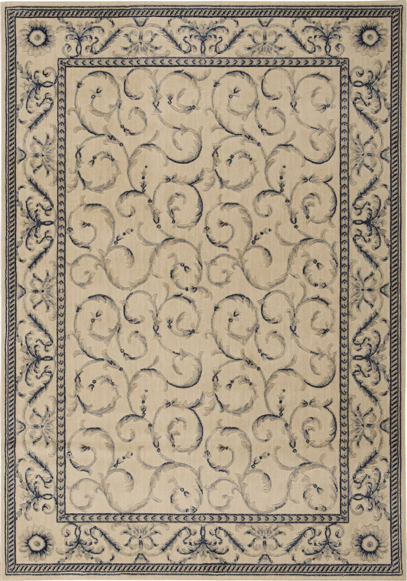 Dalrymple Ivory/Blue Area Rug Rug Size: Runner 2'3