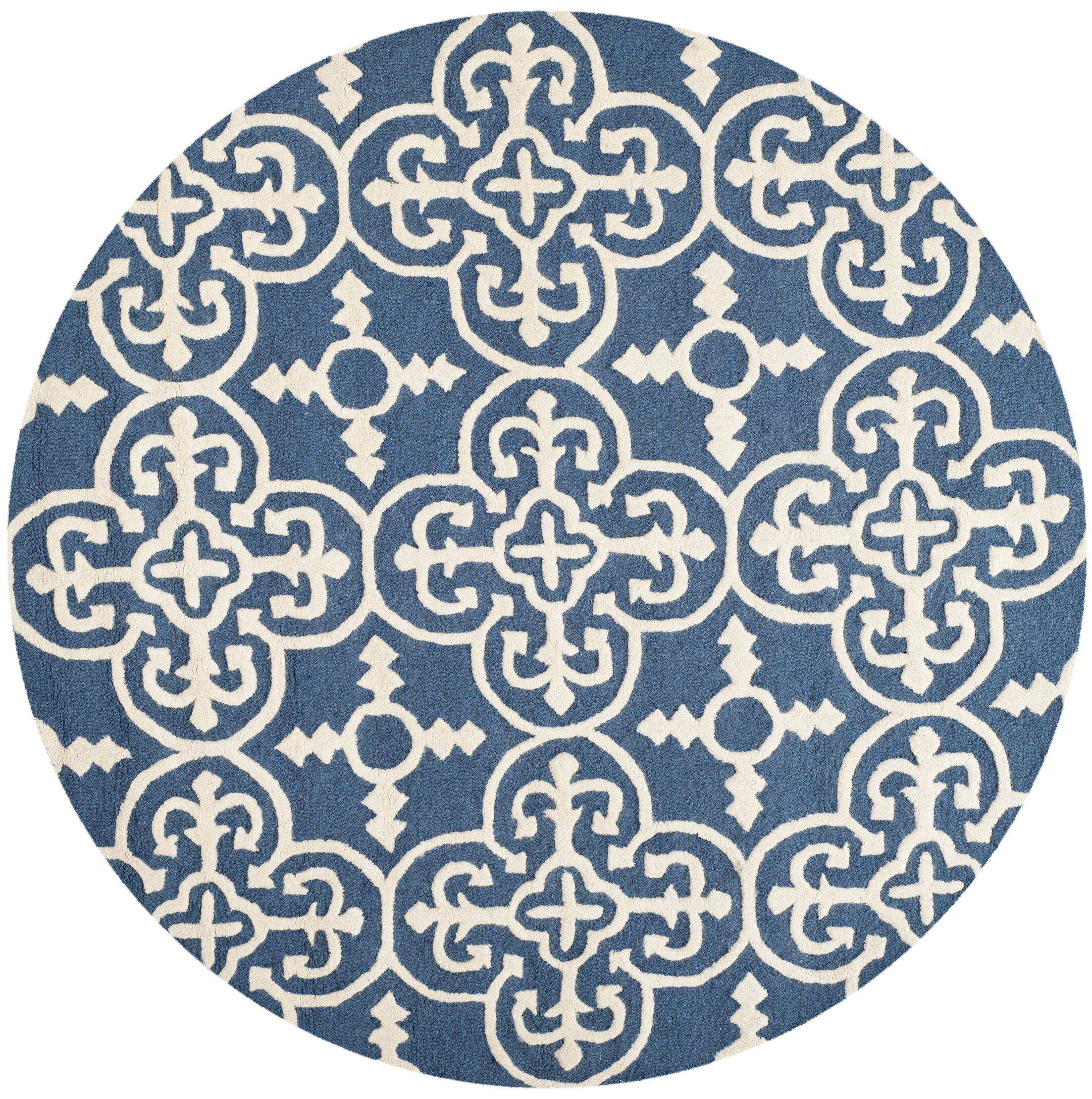 Byron Navy Blue /Ivory Tufted Wool Area Rug Rug Size: Round 8'