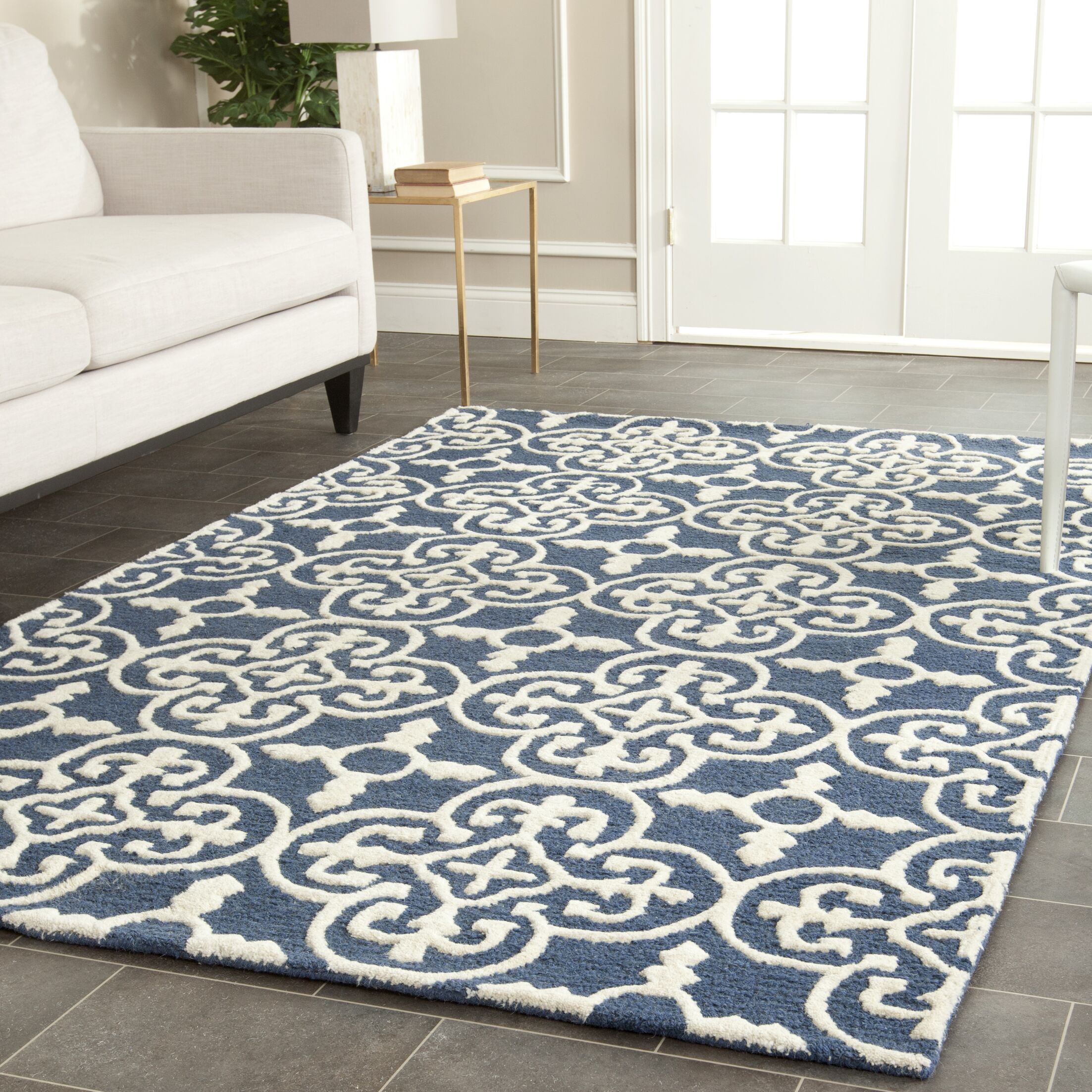 Byron Navy Blue /Ivory Tufted Wool Area Rug Rug Size: Rectangle 6' x 9'