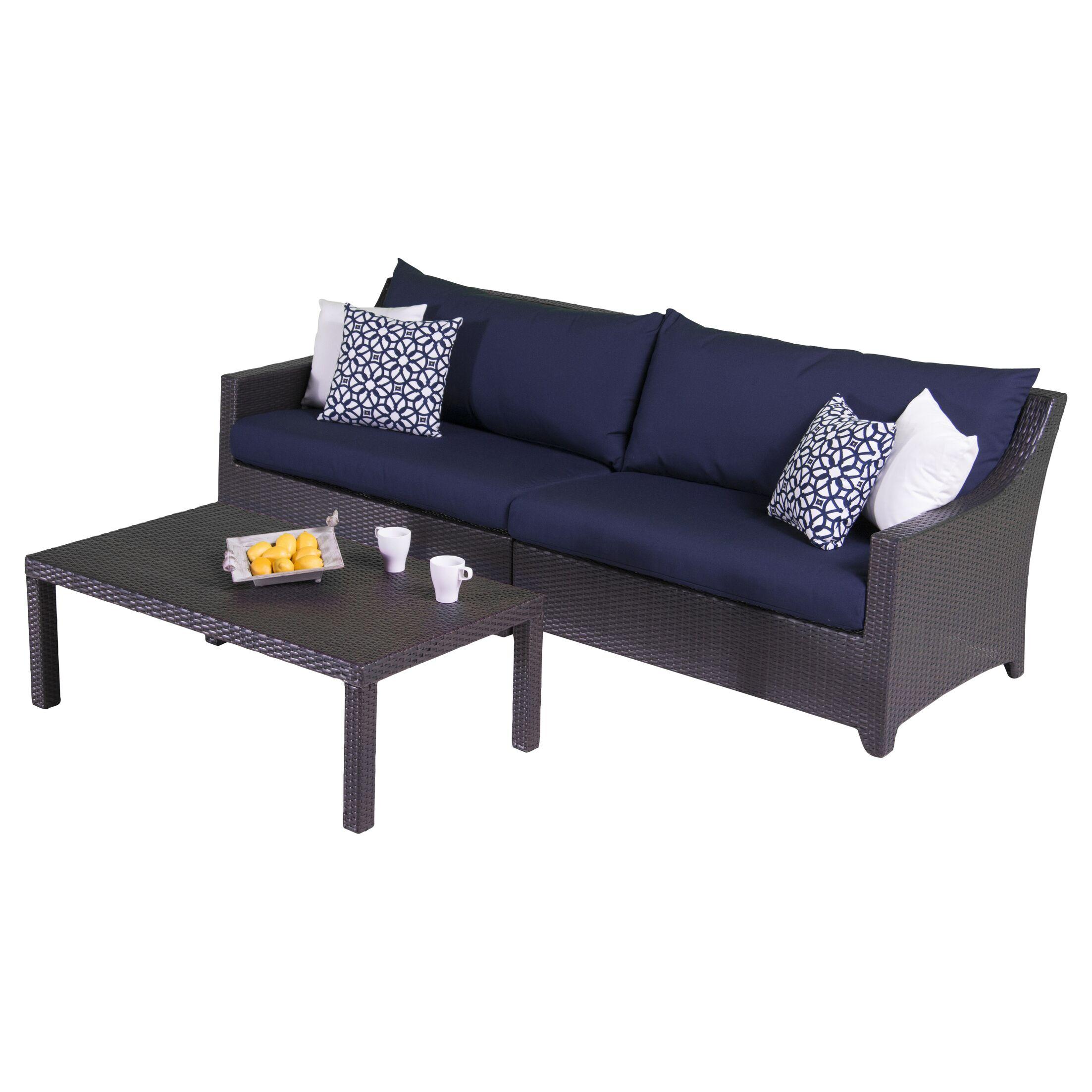 Northridge 2 Piece Sofa Set with Cushions Fabric: Navy