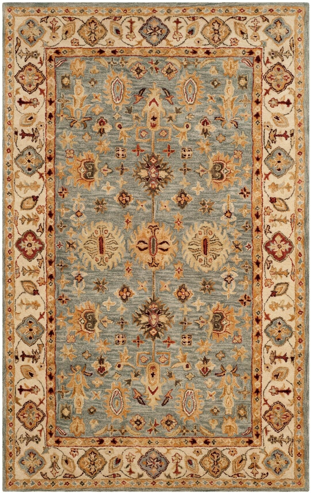 Ashville Hand-Tufted Blue / Ivory Area Rug Rug Size: Rectangle 5' x 8'