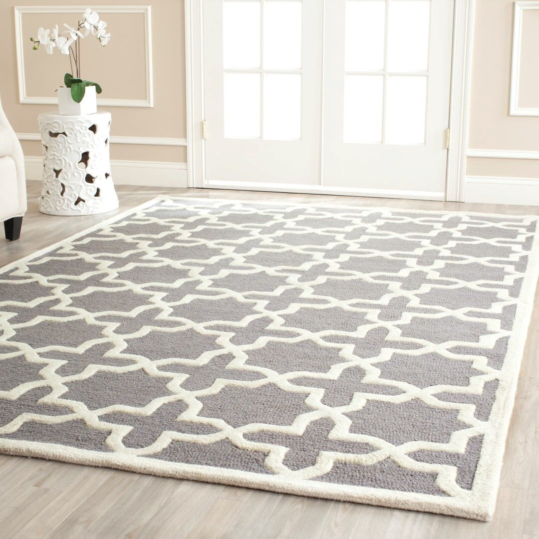 Mclawhorn Hand-Tufted Gray/Ivory Area Rug Rug Size: Rectangle 8' x 10'